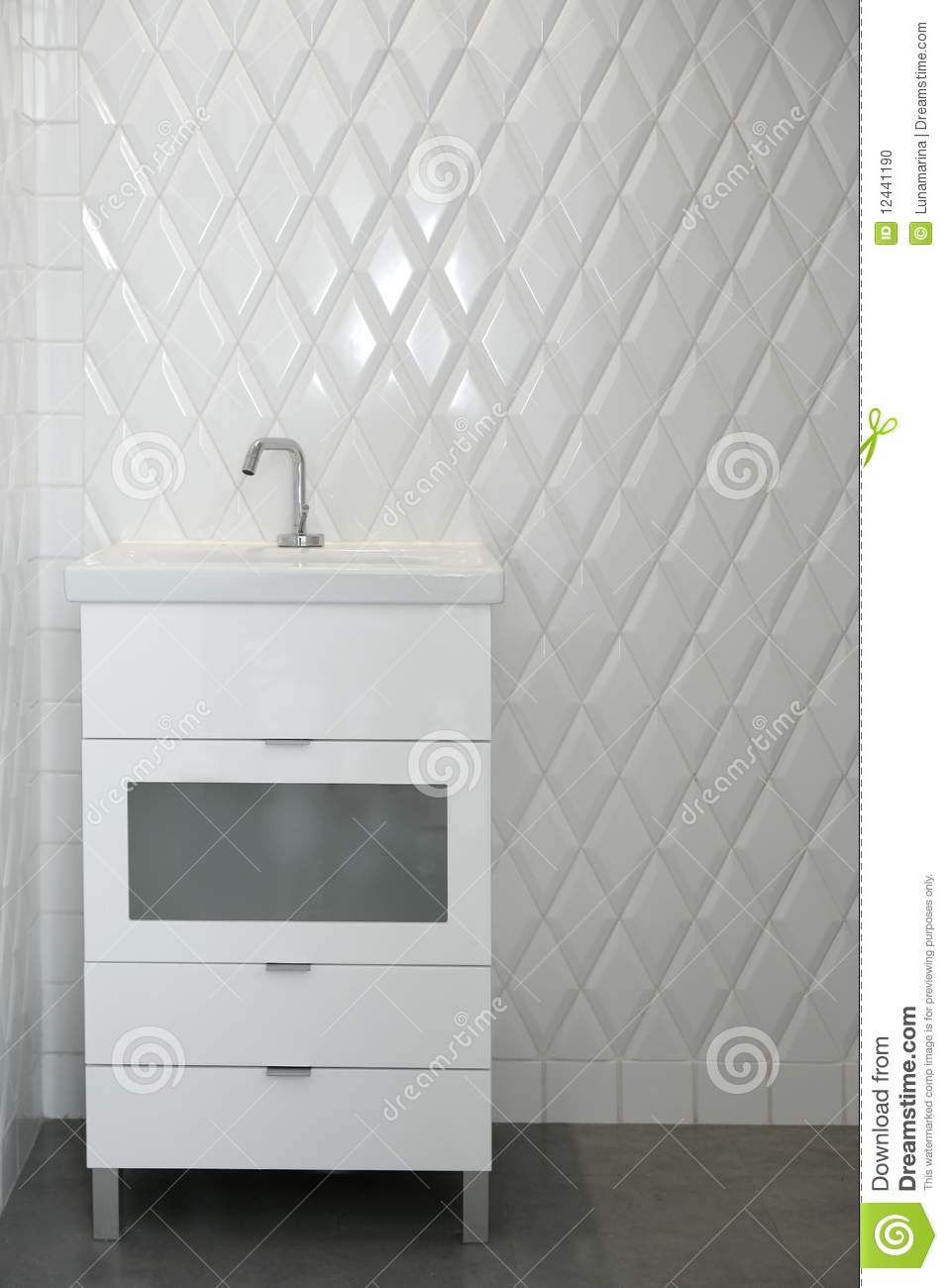 Toilet Sink In A White Room Diamond Shape Tiles Stock