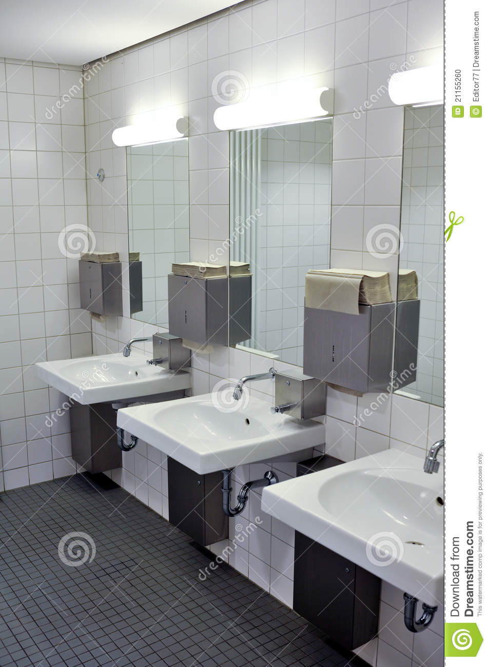 Luxury Public Bathroom With Mirrors And Sinks