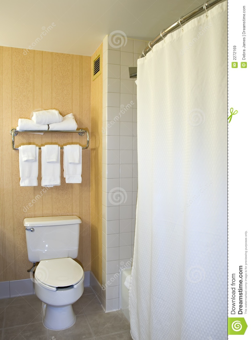 Toilet, Towel Rack And Shower Stock Image - Image: 2272169