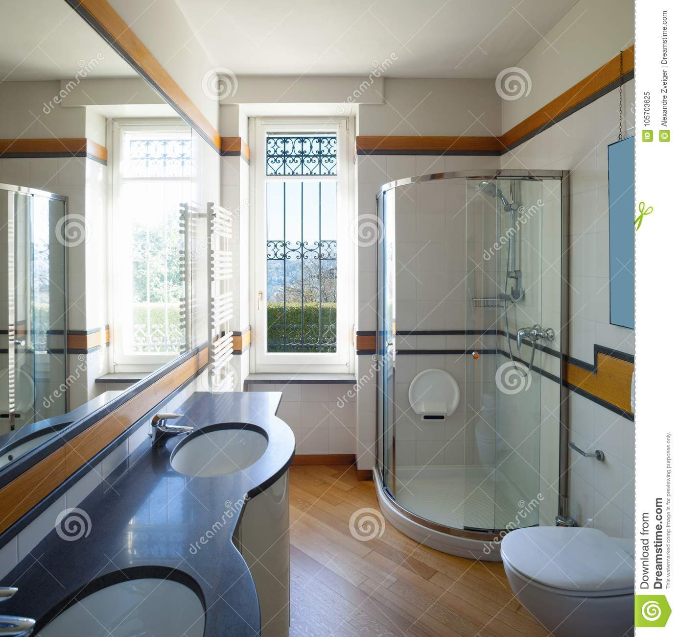. Modern Bathroom With Large Mirror Stock Image   Image of light