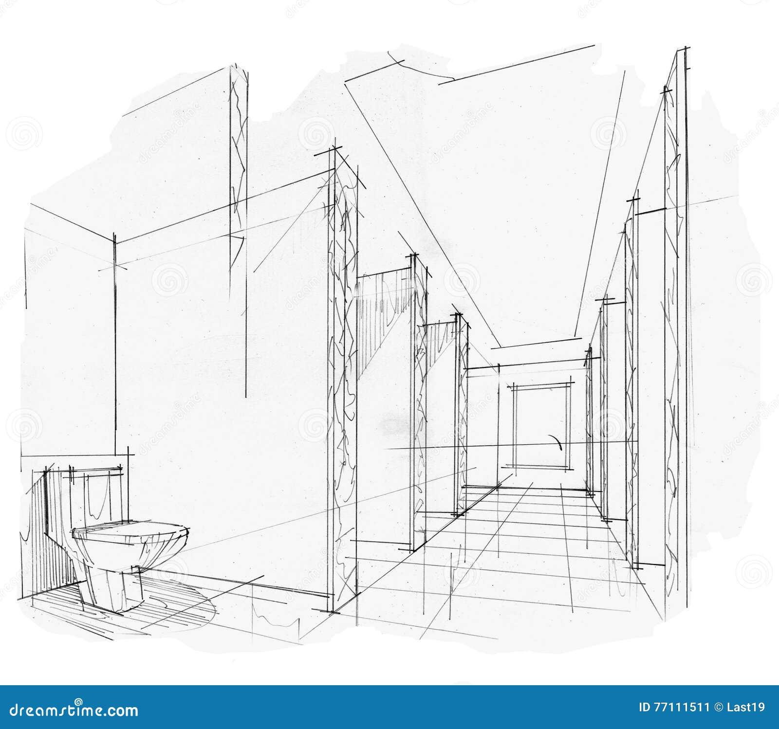 Toilet van het schets het binnenlandse perspectief zwart wit binnenlands ontwerp stock - Decoratie toilet ontwerp ...