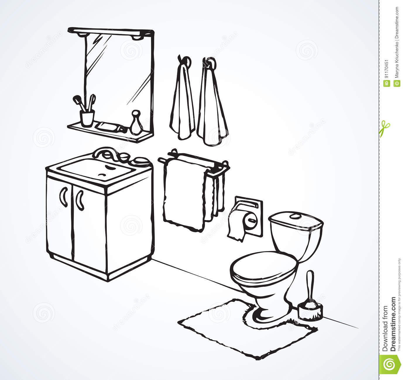 Toilet. Vector Drawing Stock Vector. Illustration Of