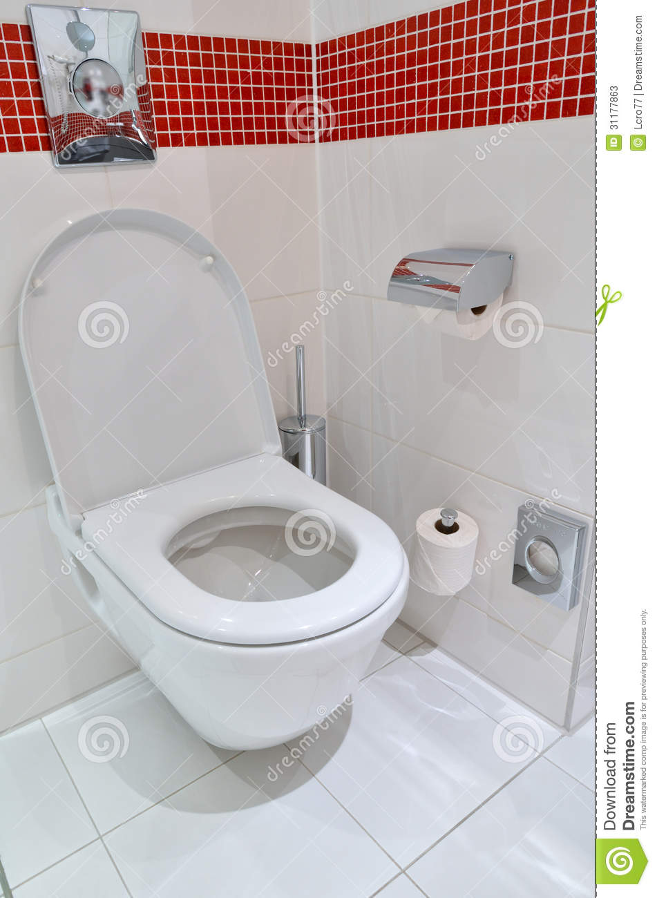 Toilet On The White Floor Tiles Stock Image - Image of porcelain ...