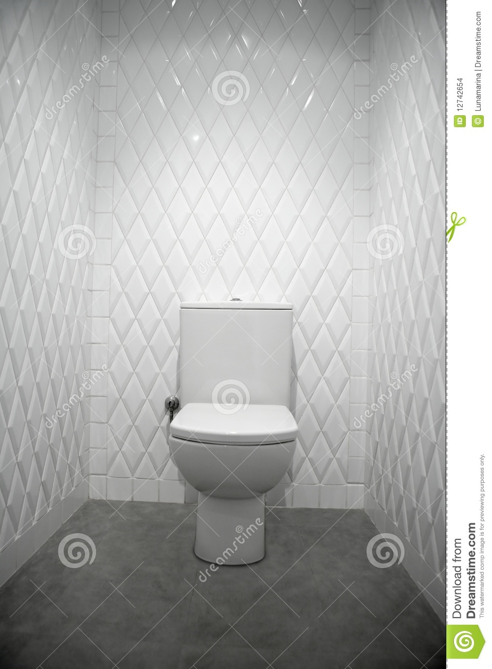 Toilet In A White Room Diamond Shape Tiles Stock Images Image 12742654