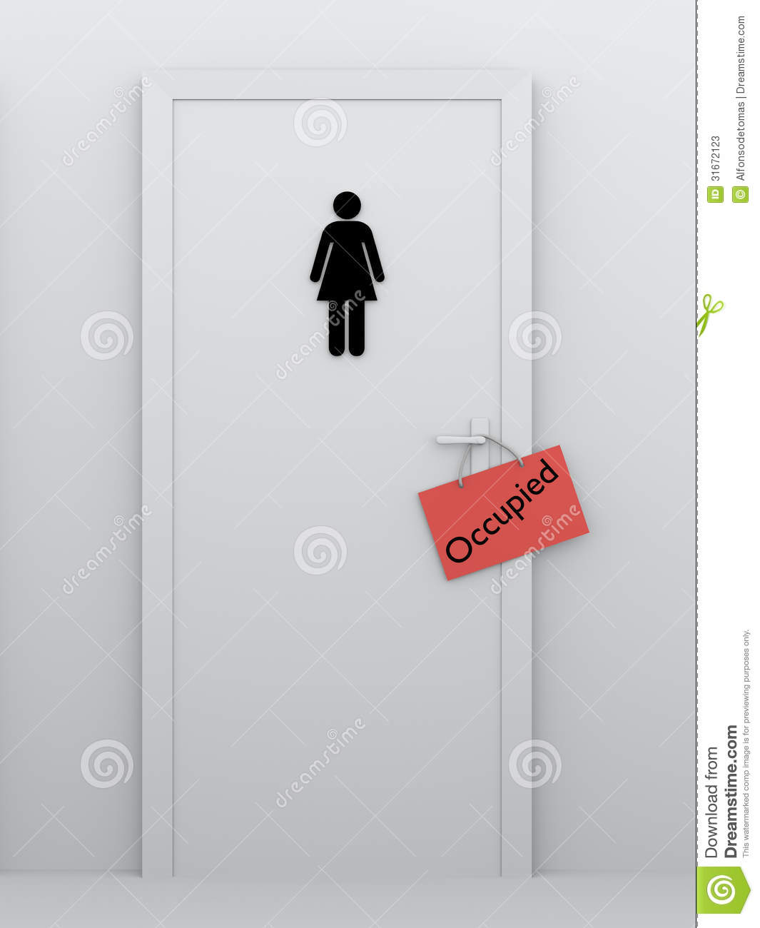 Toilet for women occupied stock photos image 31672123 for Bathroom occupied sign