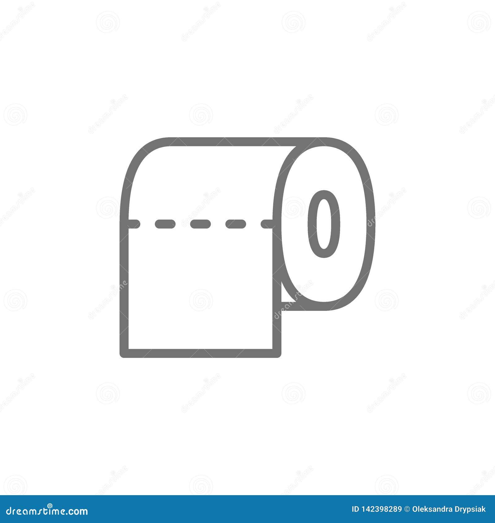 Toiletpapier, het pictogram van de badkamerslijn