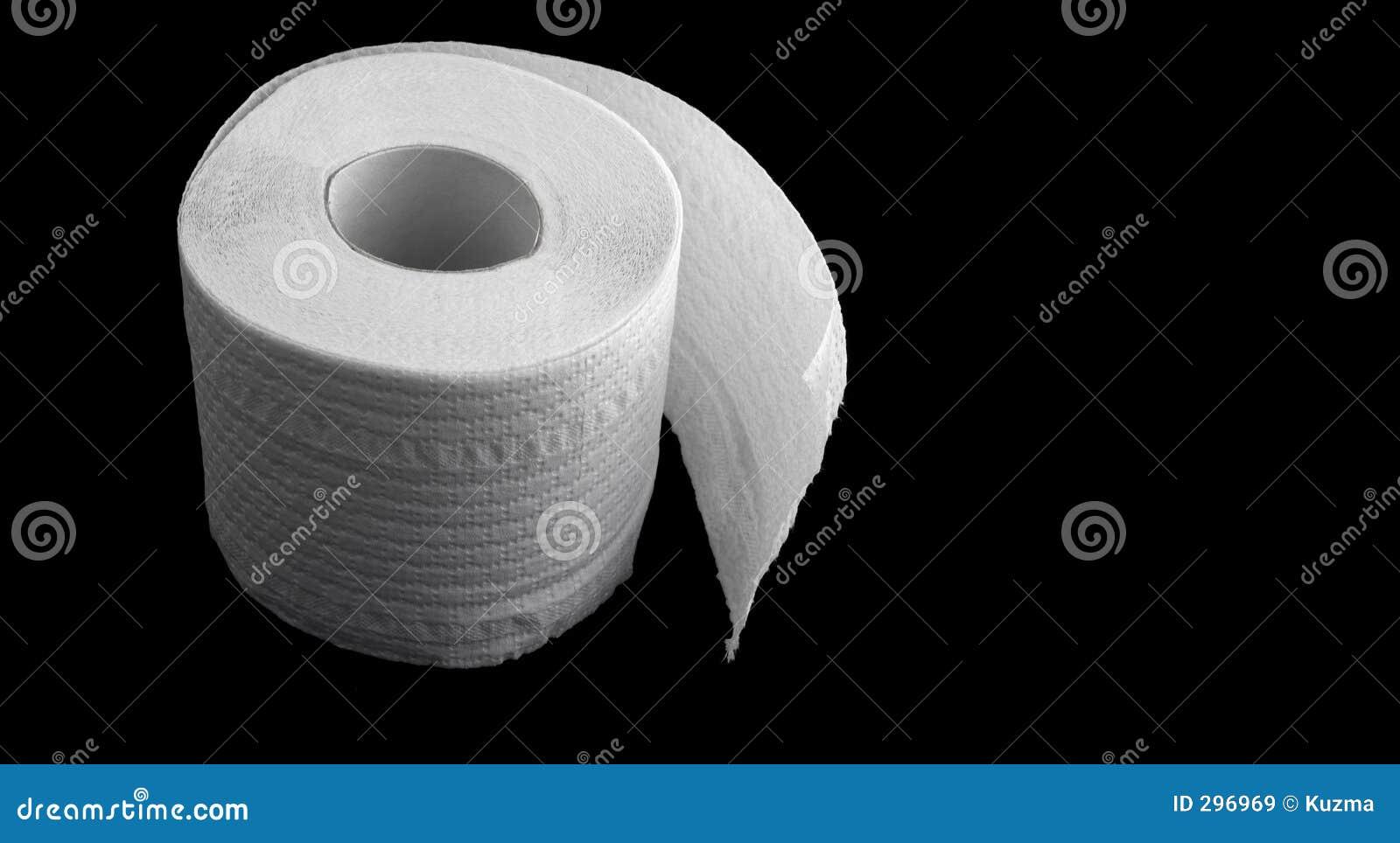 Toiletpapier op de zwarte achtergrond