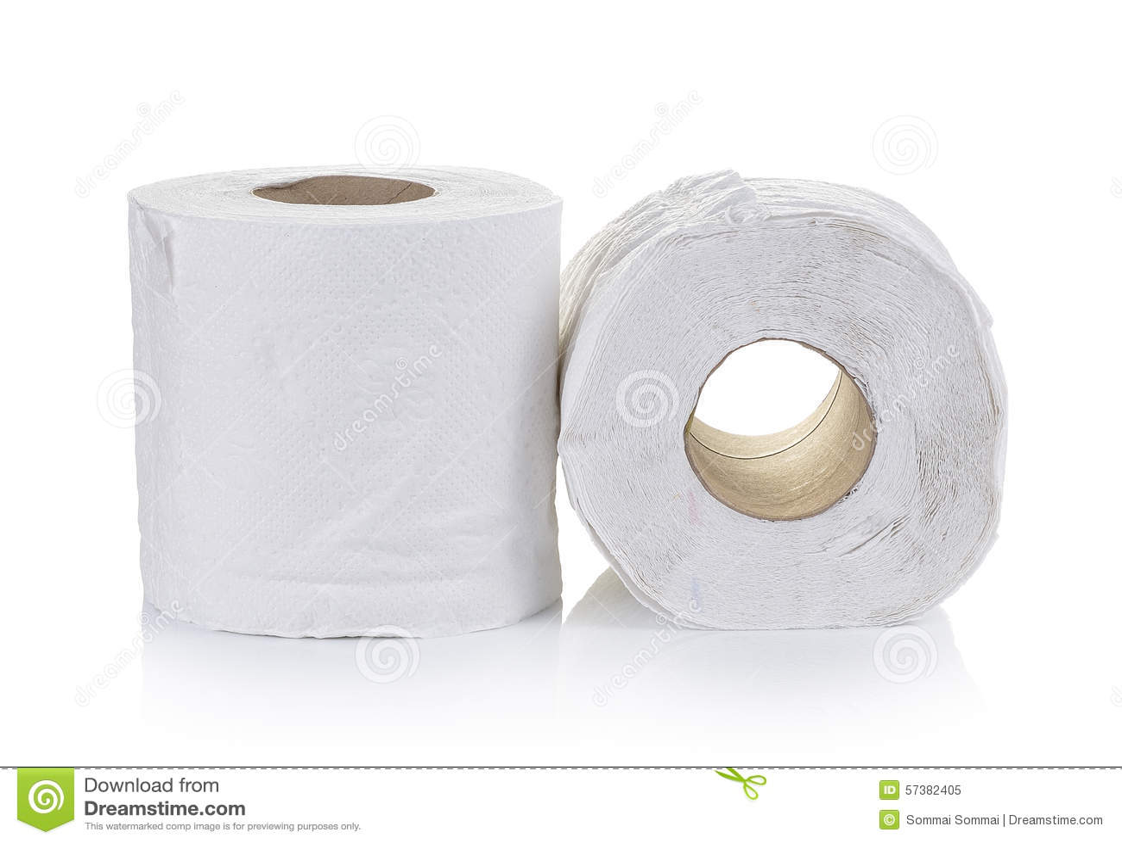 Toiletpapier op witte achtergrond