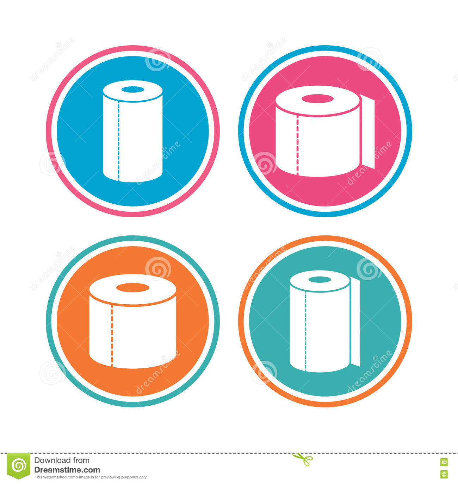 Toiletpapierpictogrammen De handdoeksymbolen van het keukenbroodje