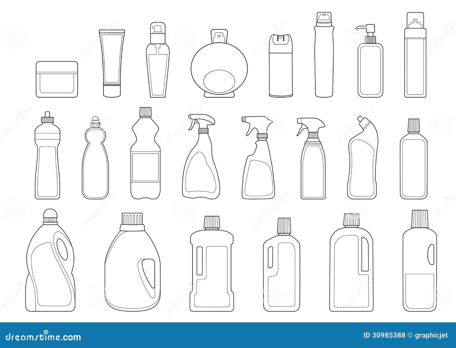 Toiletries Bottles Icon Set Royalty Free Stock Photos