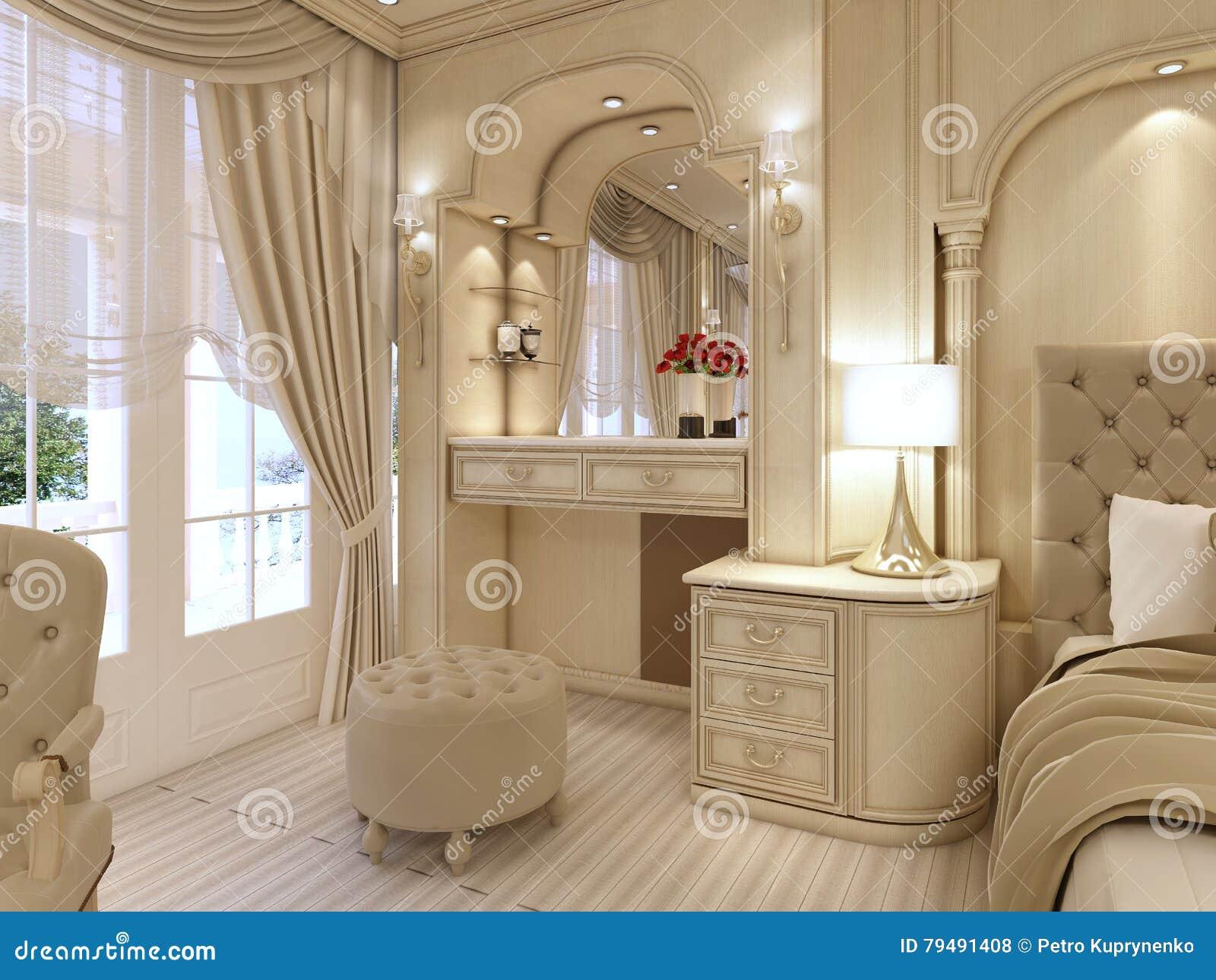 Klassieke Design Stoelen.Toilettafel En Twee Stoelen Met Een Schemerlamp In Klassieke Luxur