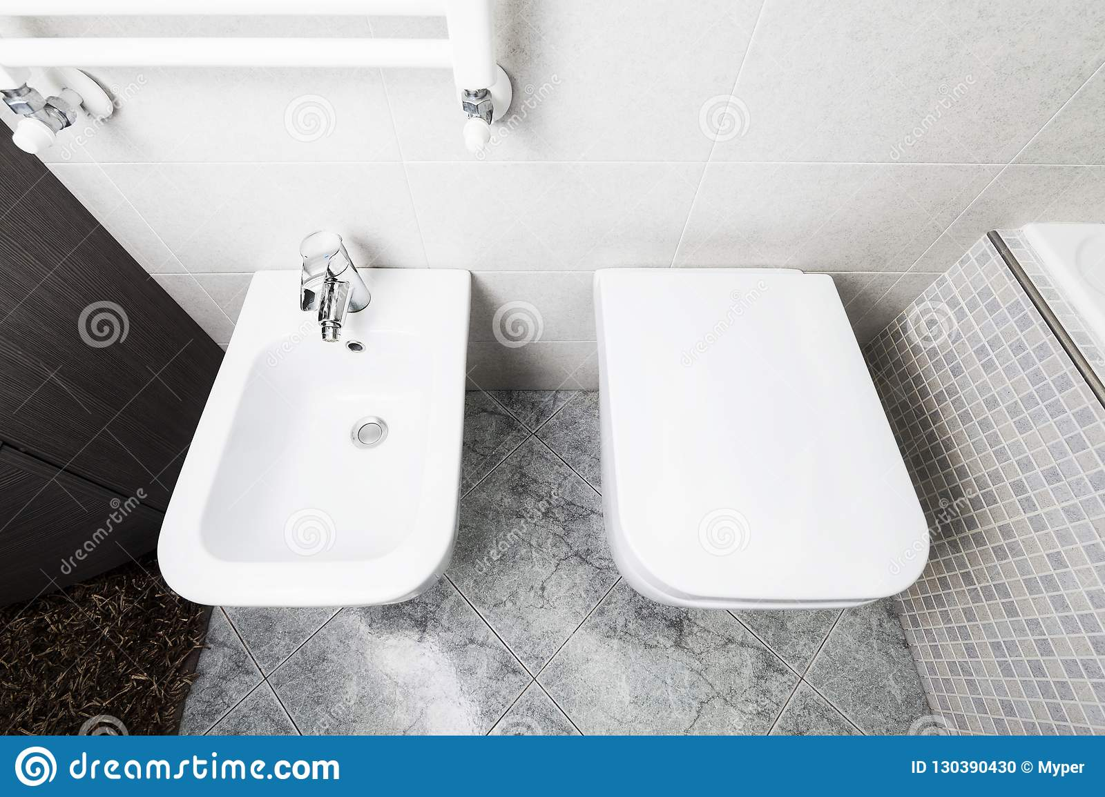 Toilette And Bidet From Above Stock Photo Image Of Home Indoor