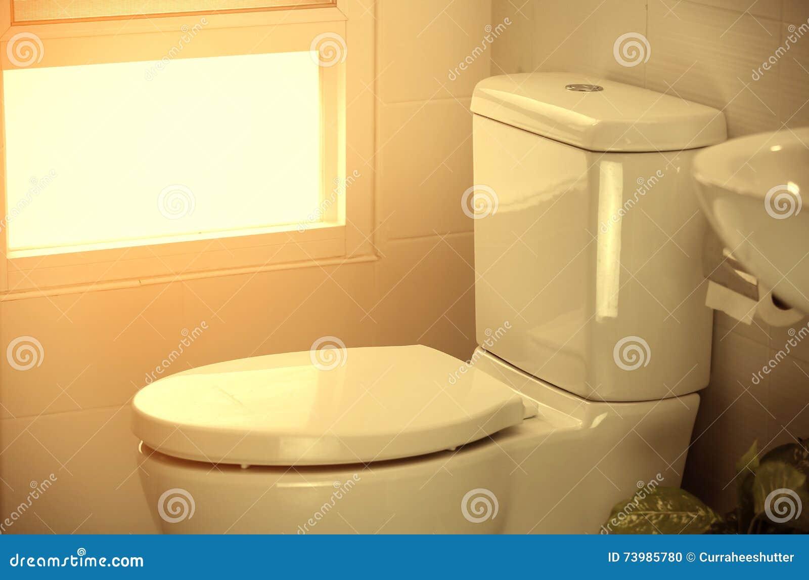 Toilette blanche dans la maison moderne, cuvette des toilettes ...