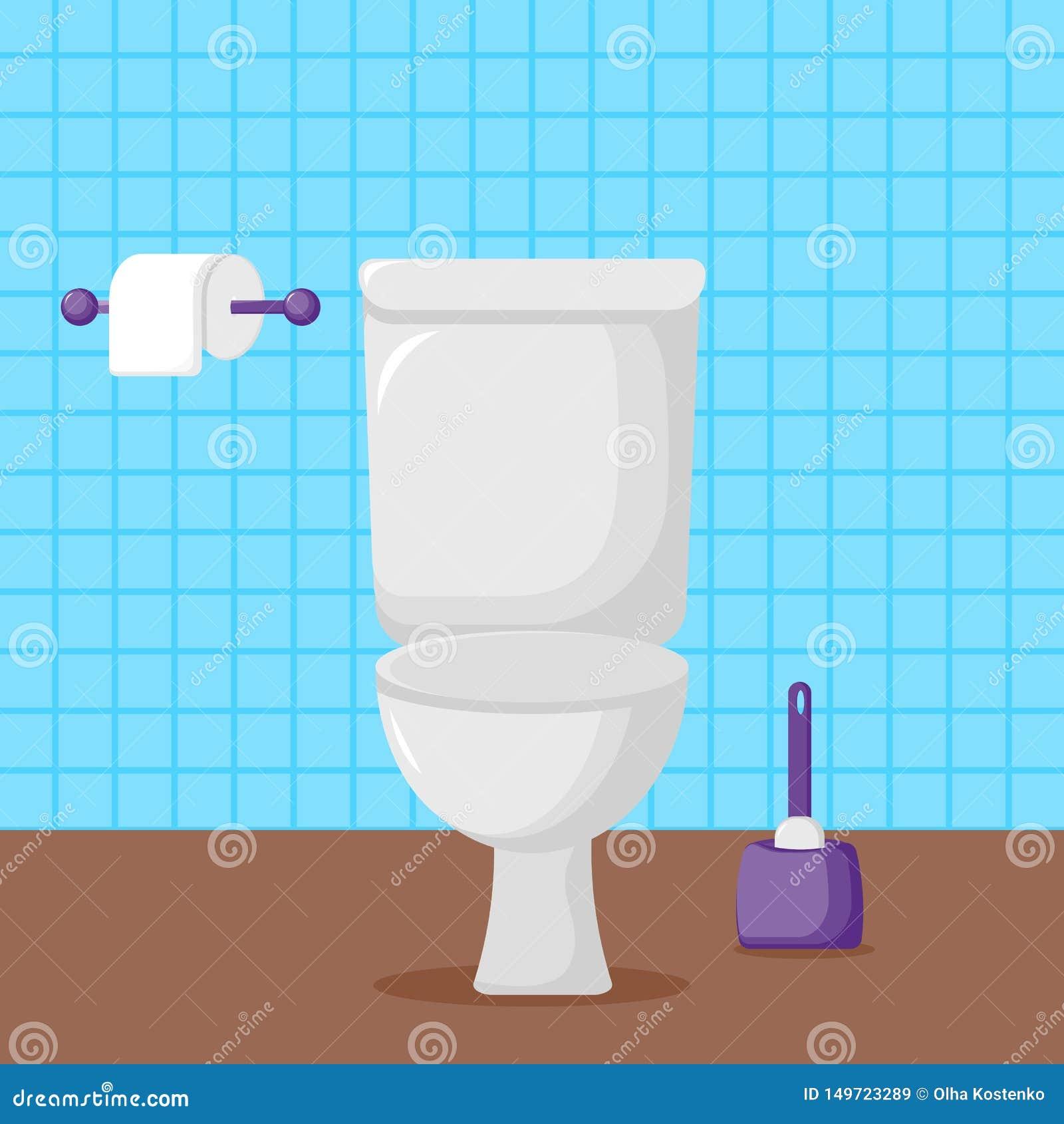 Toilette blanche de céramique, papier hygiénique