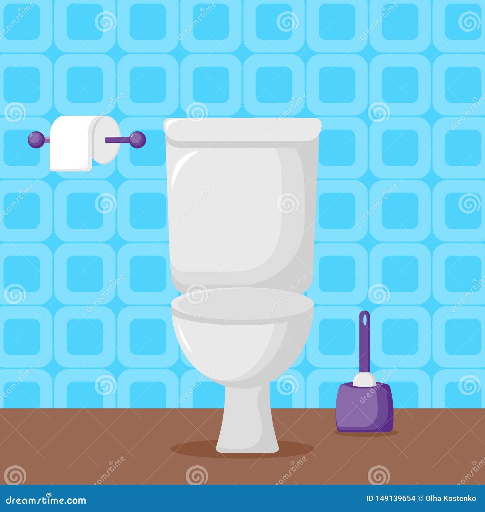 Toilette blanche de c?ramique dans le style plat