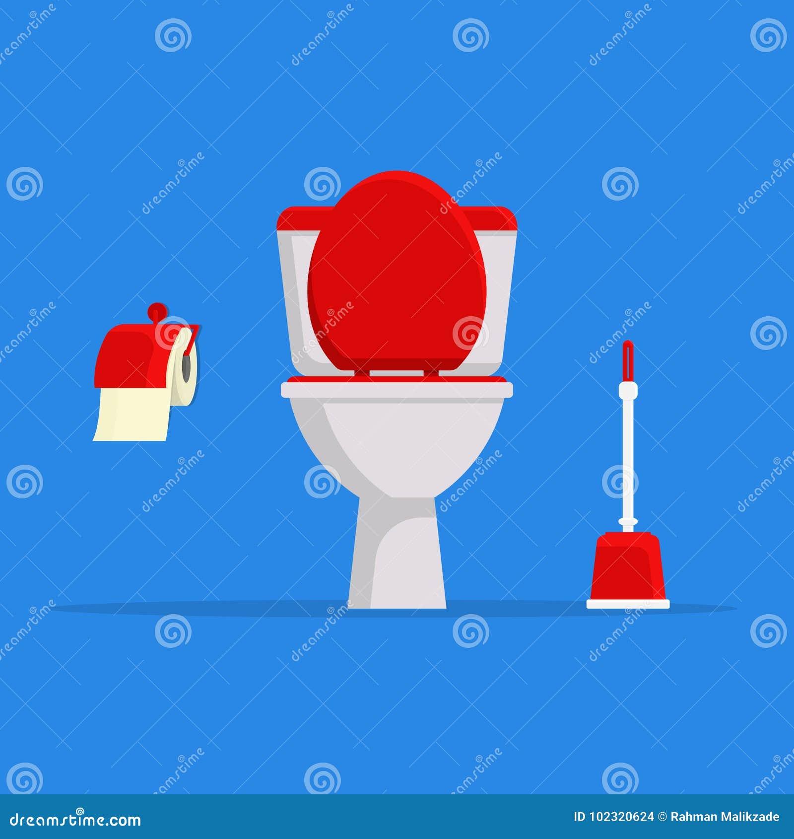 Toilette de céramique, papier hygiénique et brosse blancs de toilette ensemble de toilette moderne dans le style plat