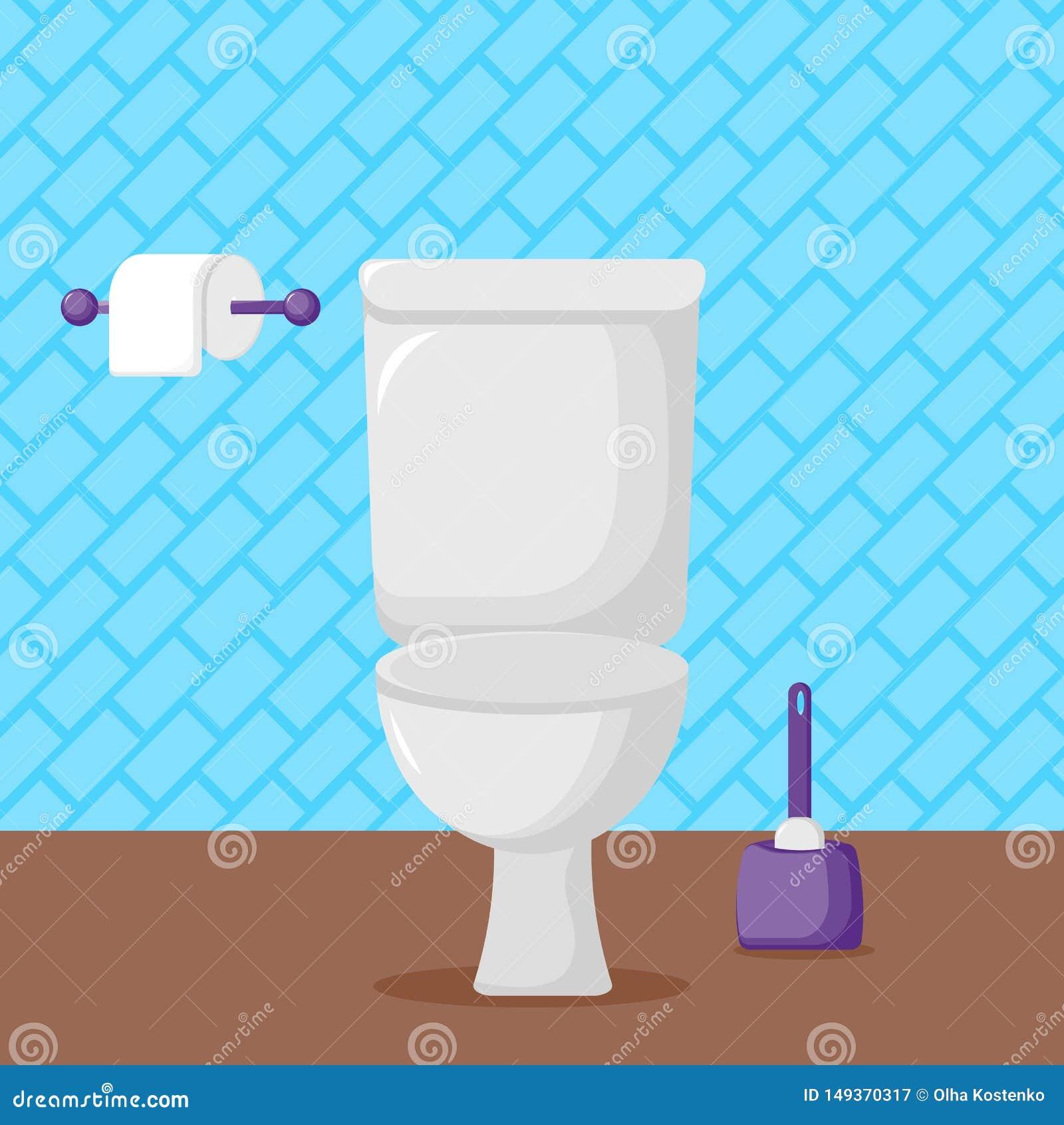 Toilette de c?ramique, papier hygi?nique et brosse blancs