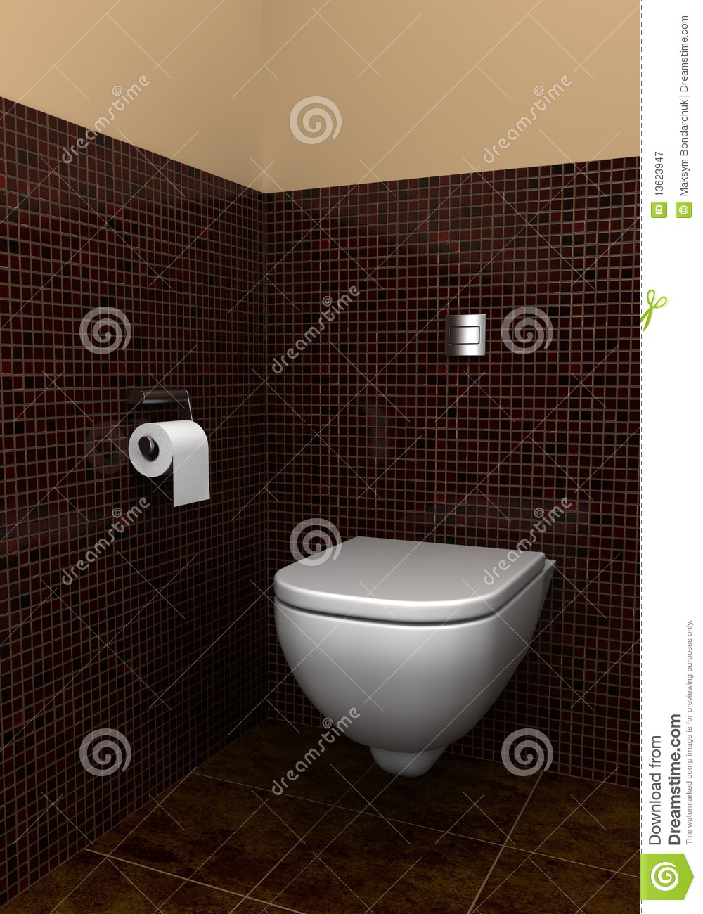Toilette moderne avec les tuiles brunes sur le mur for Photo toilette moderne