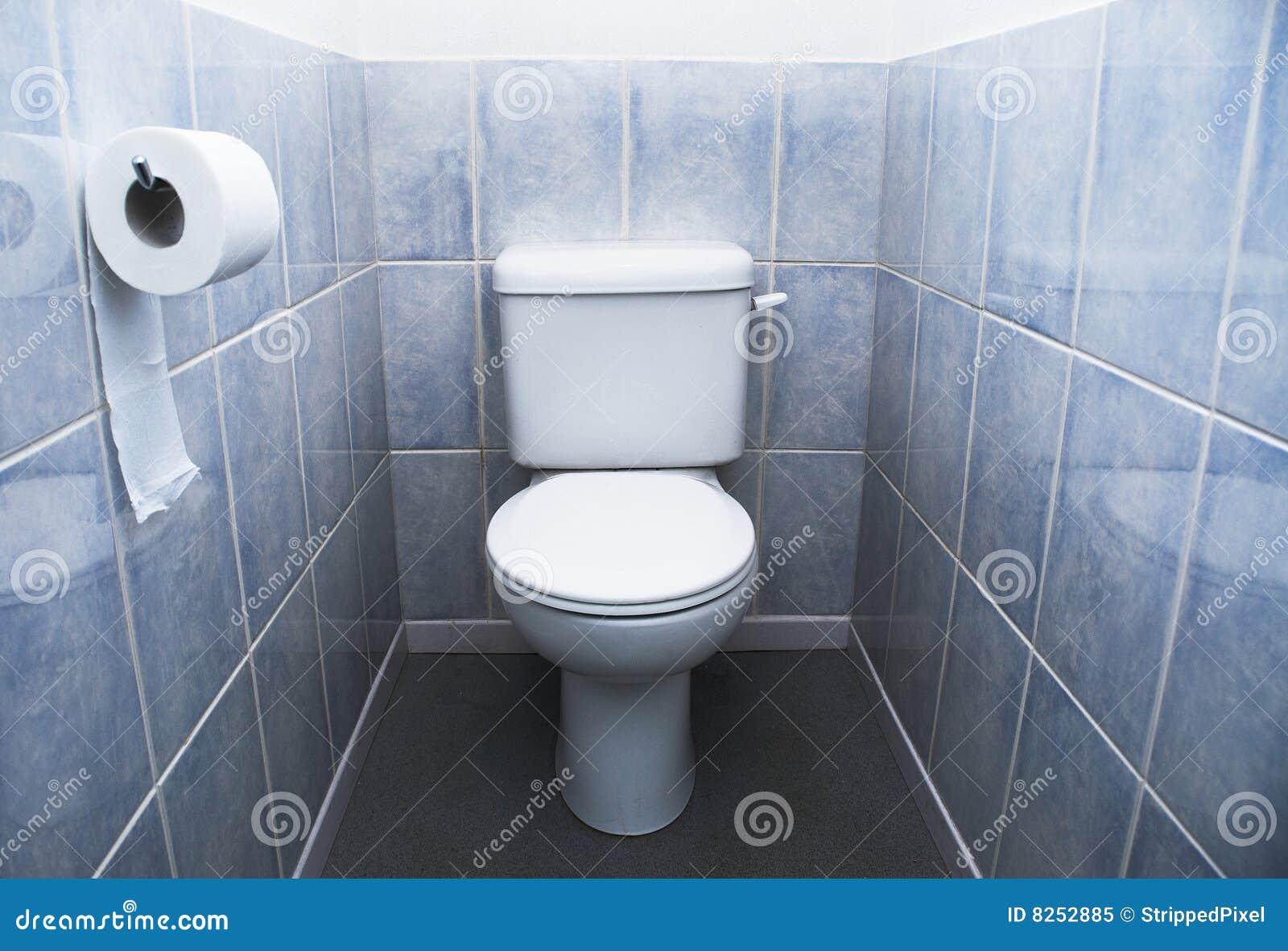 Toilette Toiletten Rolle Und Aqua Blau Fliesen