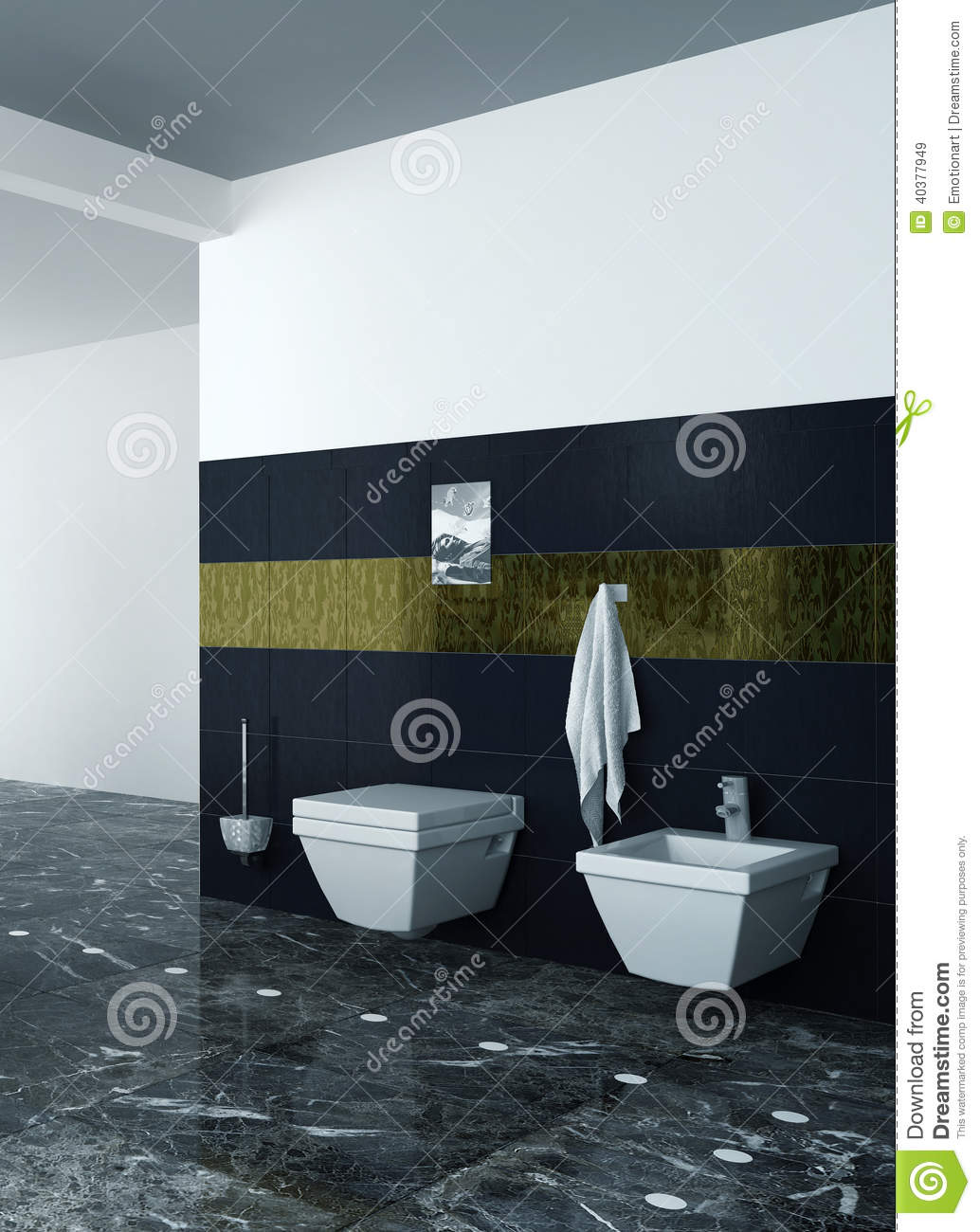 toilette und bidet gegen schwarze fliesen stockfoto bild. Black Bedroom Furniture Sets. Home Design Ideas