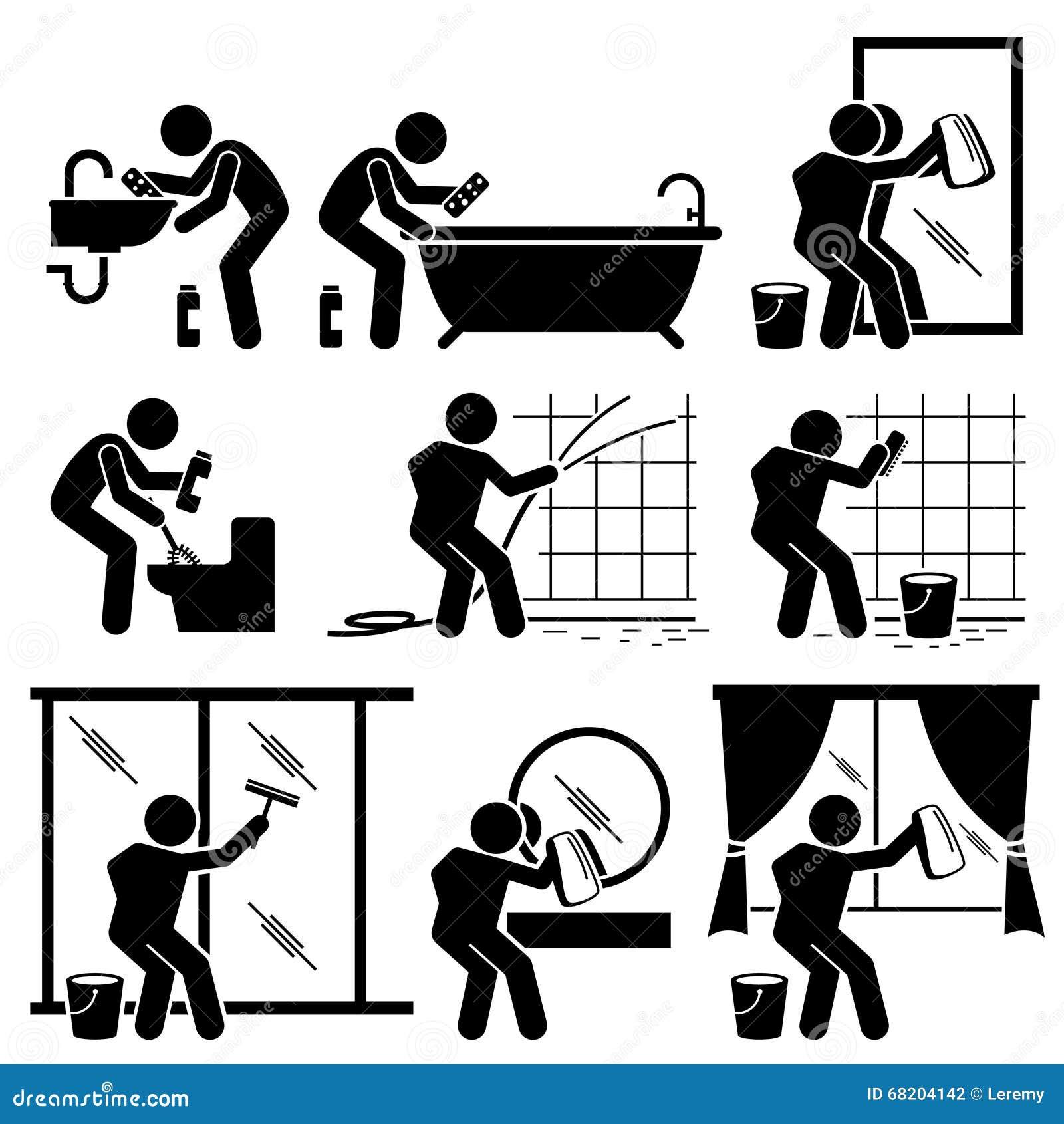 Toilette windows de salle de bains de nettoyage d 39 homme et for Nettoyage moisissure salle de bain