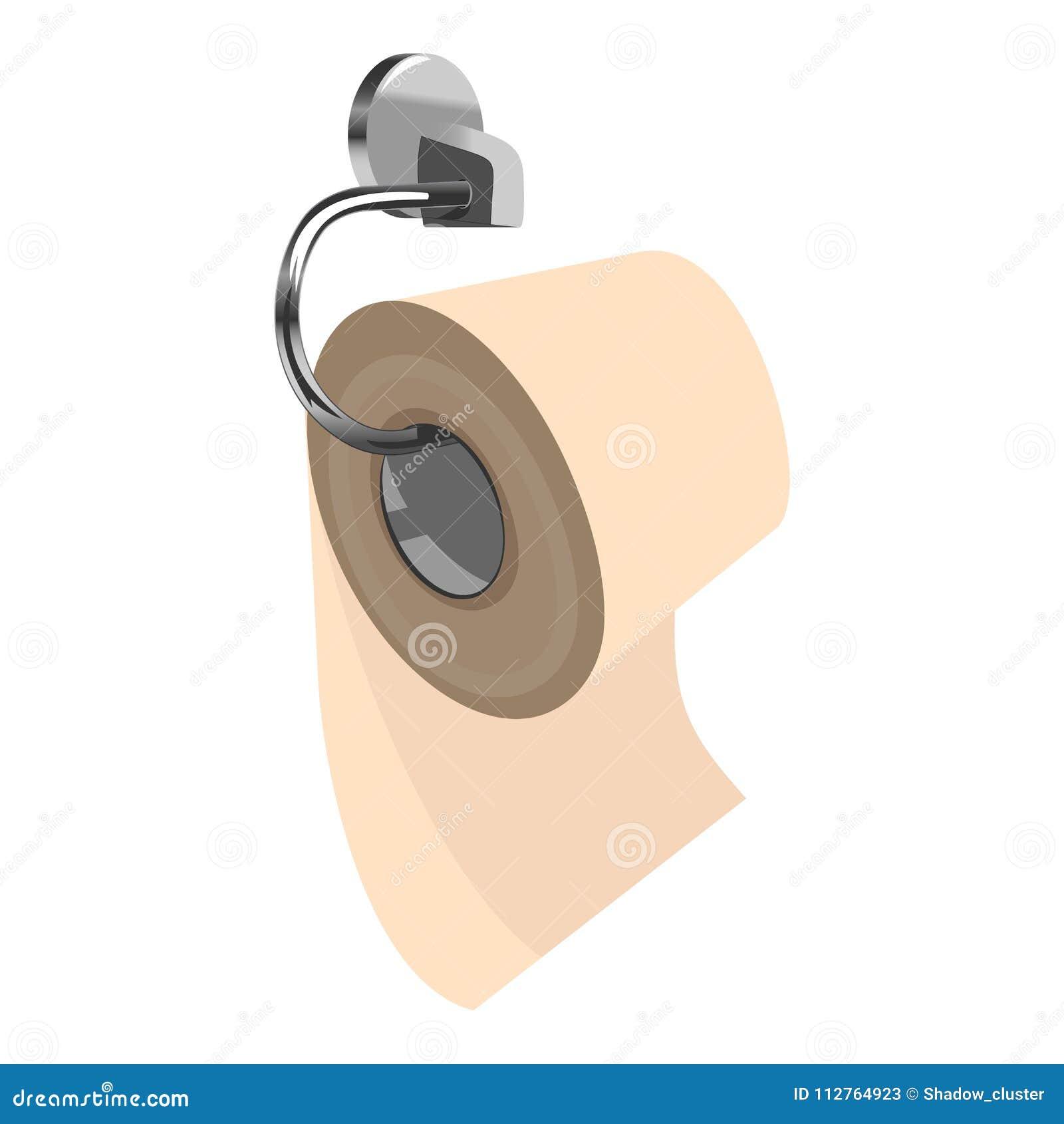 Toilettenpapier auf Metallpapierhalter