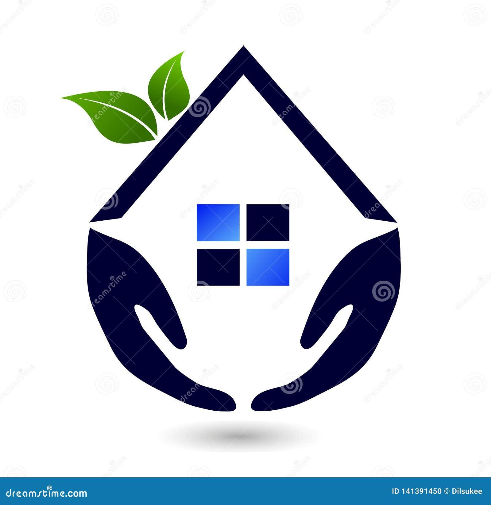 Toit abstrait de Chambre verte de famille de personnes d immobiliers et vecteur à la maison de conception d icône d élément de ve