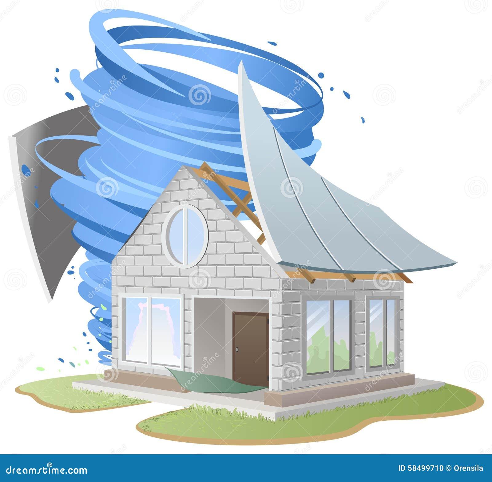 Toit d truit par ouragan de maison illustration de vecteur for House under construction insurance