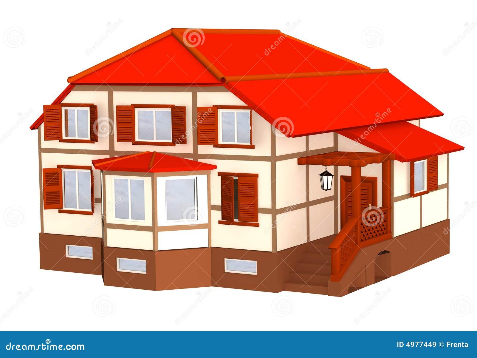 Toit de rouge de maison de la couleur 3d images libres de droits image 4977449 - La maison des couleurs ...