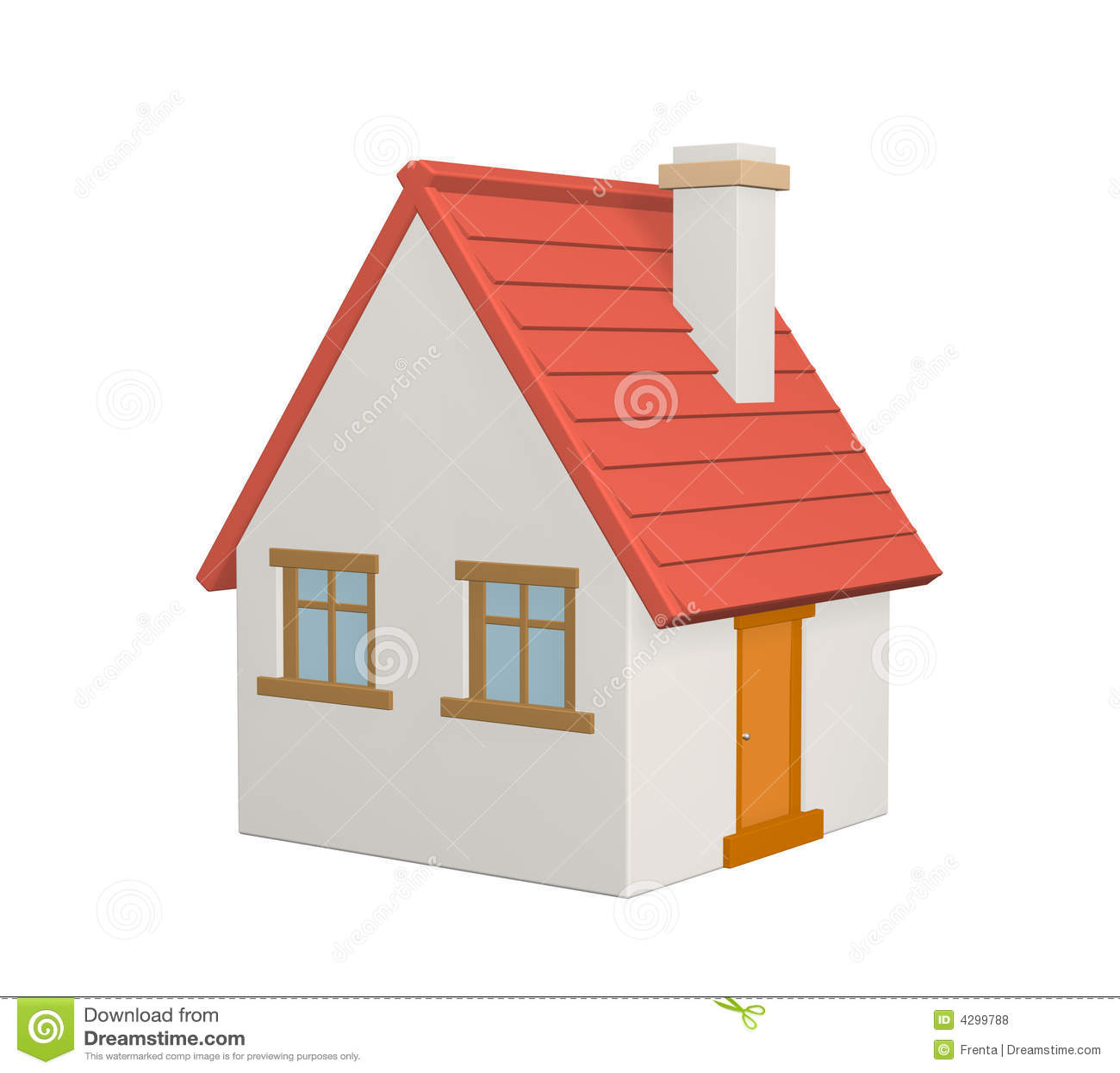 toit rouge de la maison 3d rural illustration stock image 4299788. Black Bedroom Furniture Sets. Home Design Ideas