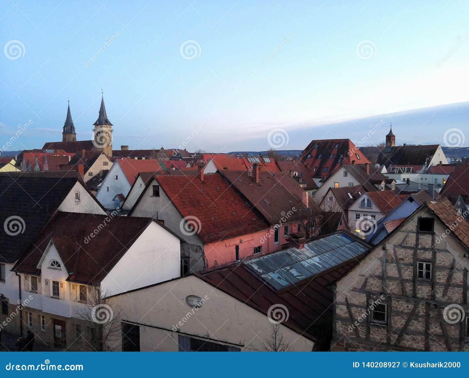 Toits de la ville allemande égalisante