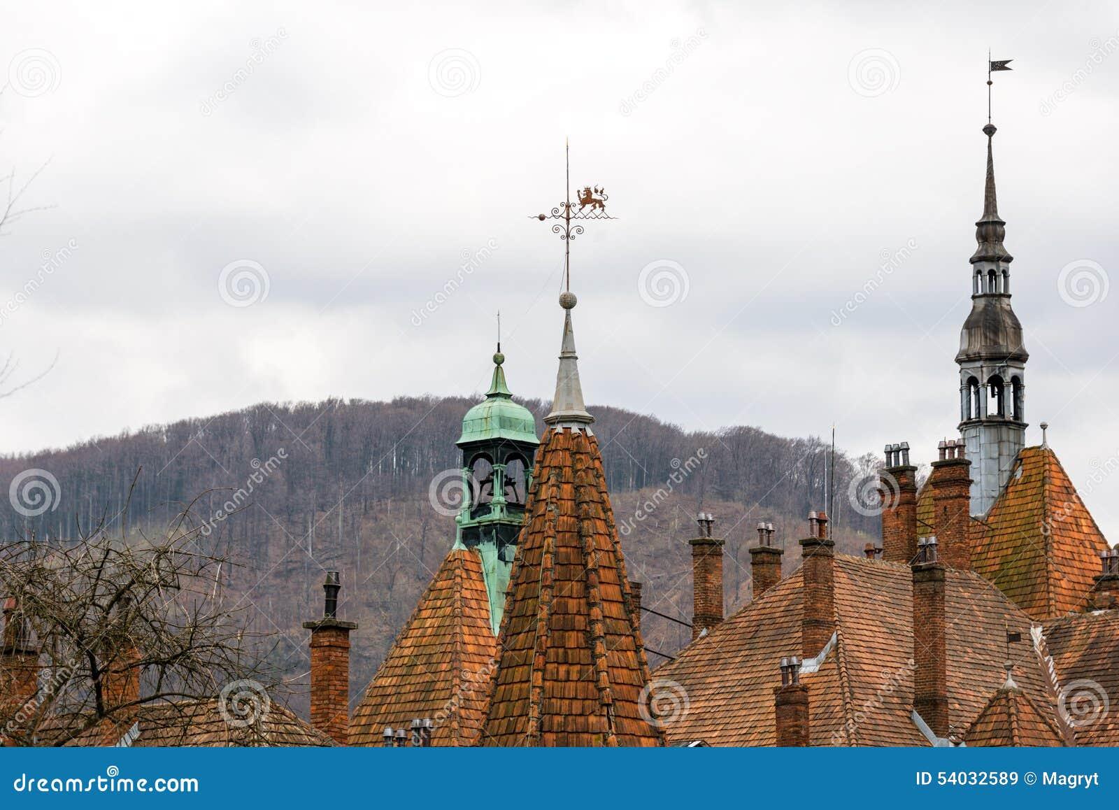 Toits pointus de château de Shenborn, Ukraine