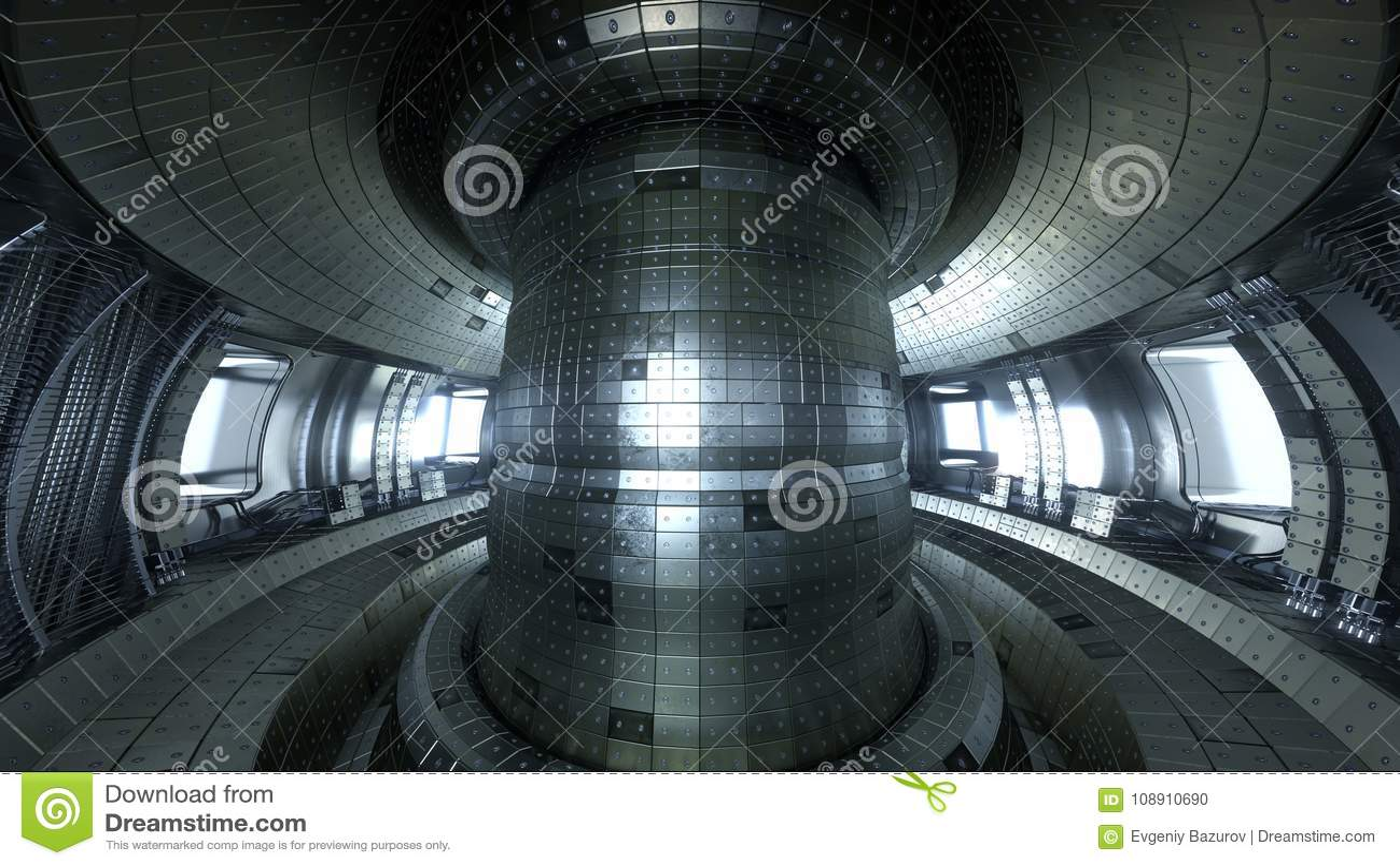 Tokamak för fusionreaktor Reaktionskammare Fusionmakt illus 3d