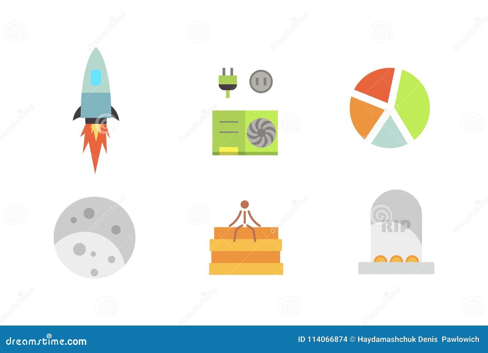 Token ICO Vector Illustration And Blockchain Technology Icons  Stock