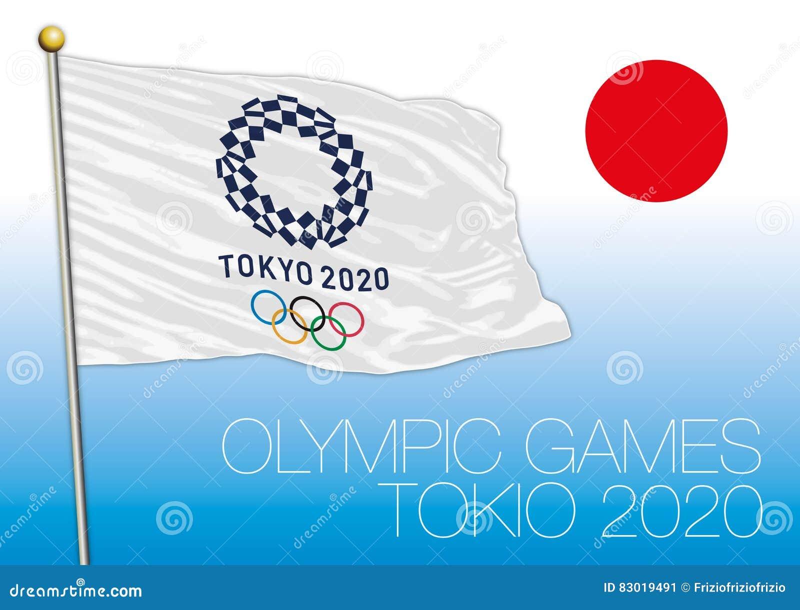 Tokio Japan August 2020 Vorbereitung Fur Die Olympischen Spiele 2020 Logo Flagge Und Symbol Redaktionelles Foto Illustration Von Rennen Athletisch 83019491