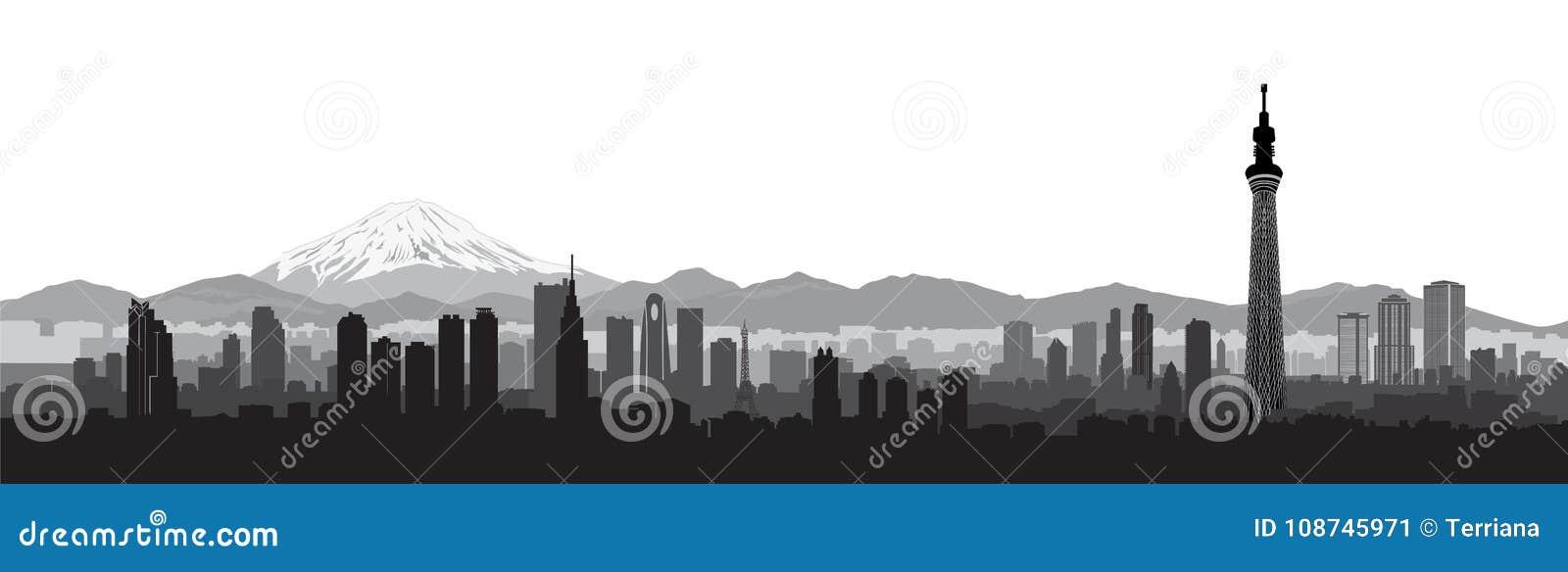 Tokio miasta linii horyzontu widok Podróży Japonia krajobrazu tło
