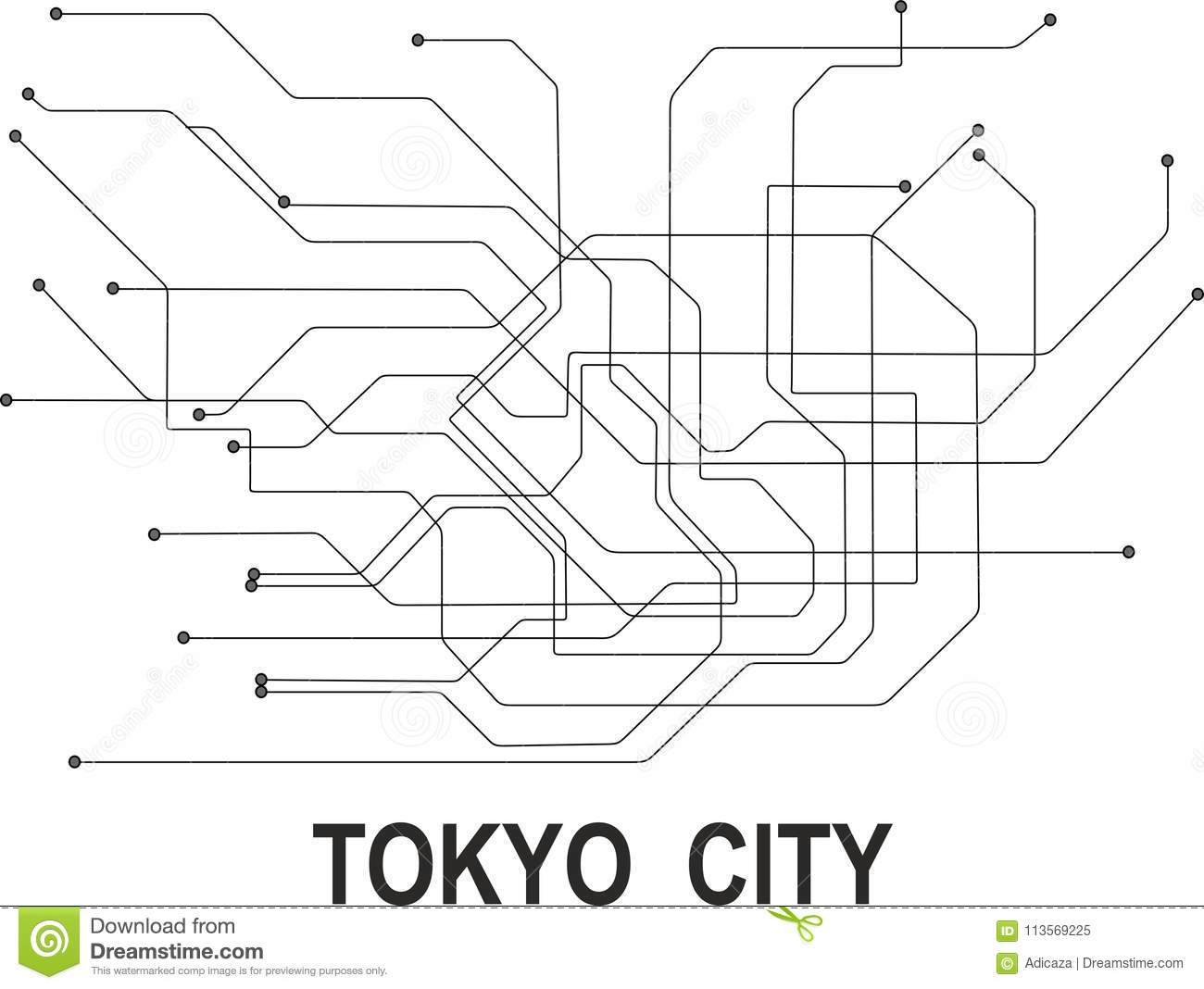 Tokyo Subway Map Art.Tokyo City Map Stock Vector Illustration Of Illustration 113569225