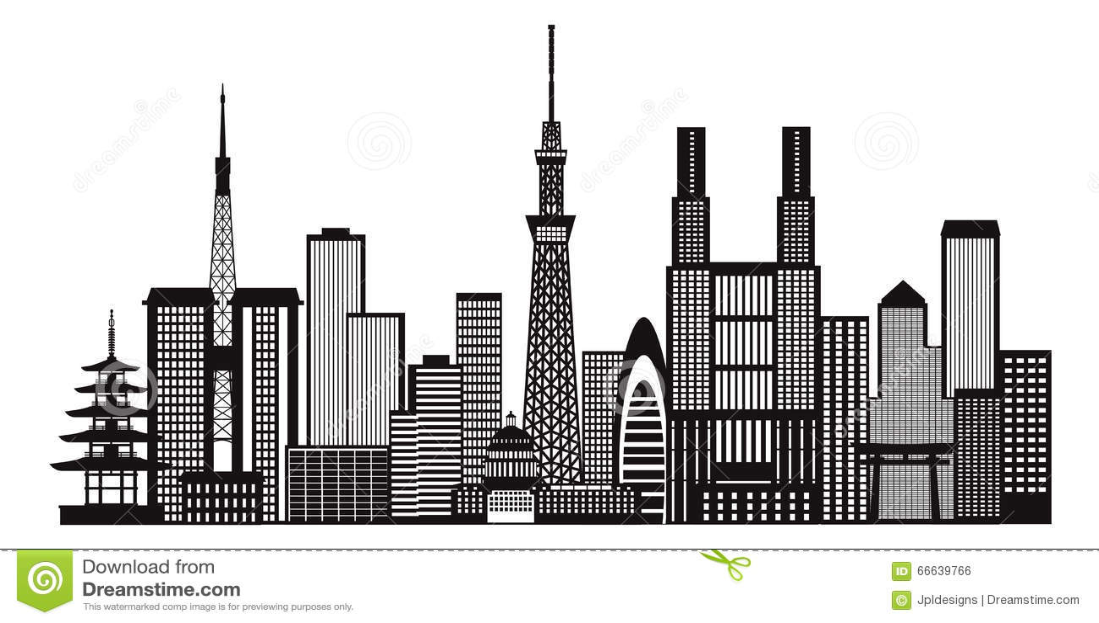 Tokyo City Skyline Black And White Illustration Royalty Free Stock Image