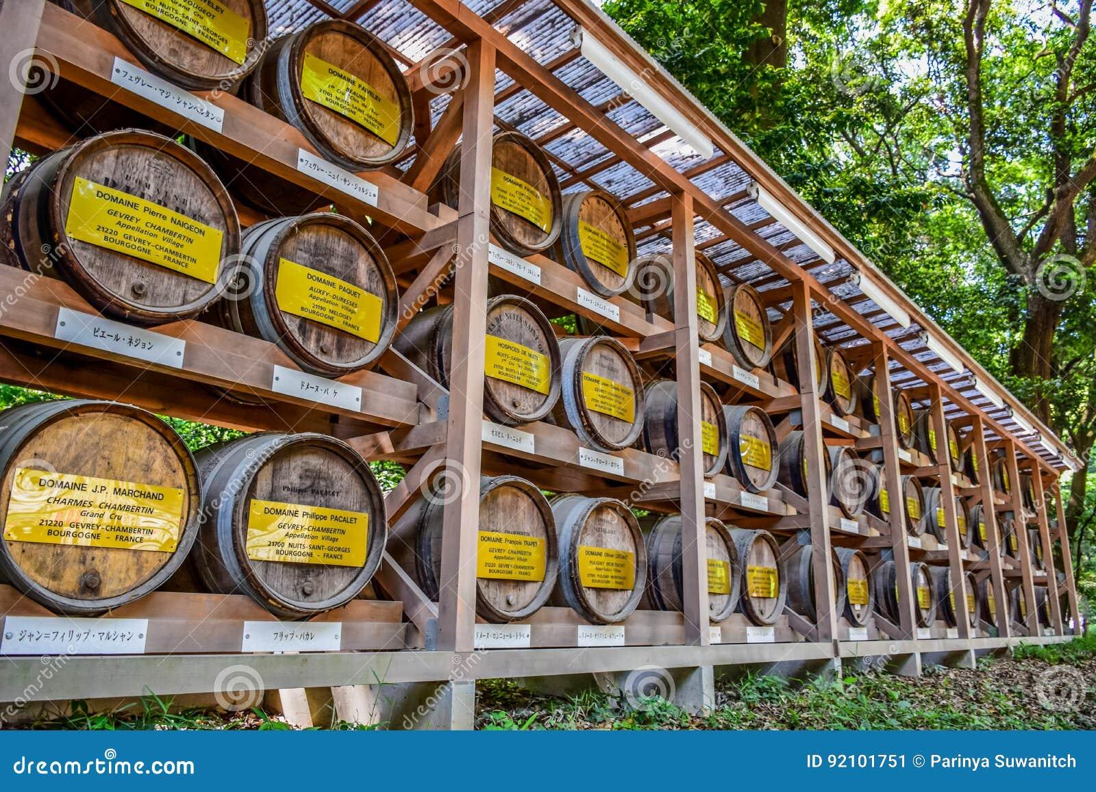 TOKYO, GIAPPONE - MAGGIO 2016: Barilotti di legno impilati di vino a Meiji Shrine in Shibuya, Tokyo