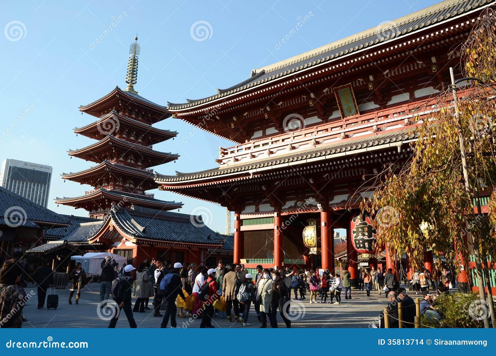 TOKYO, GIAPPONE - 21 NOVEMBRE: Il tempio buddista Senso-ji è il simbolo di Asakusa