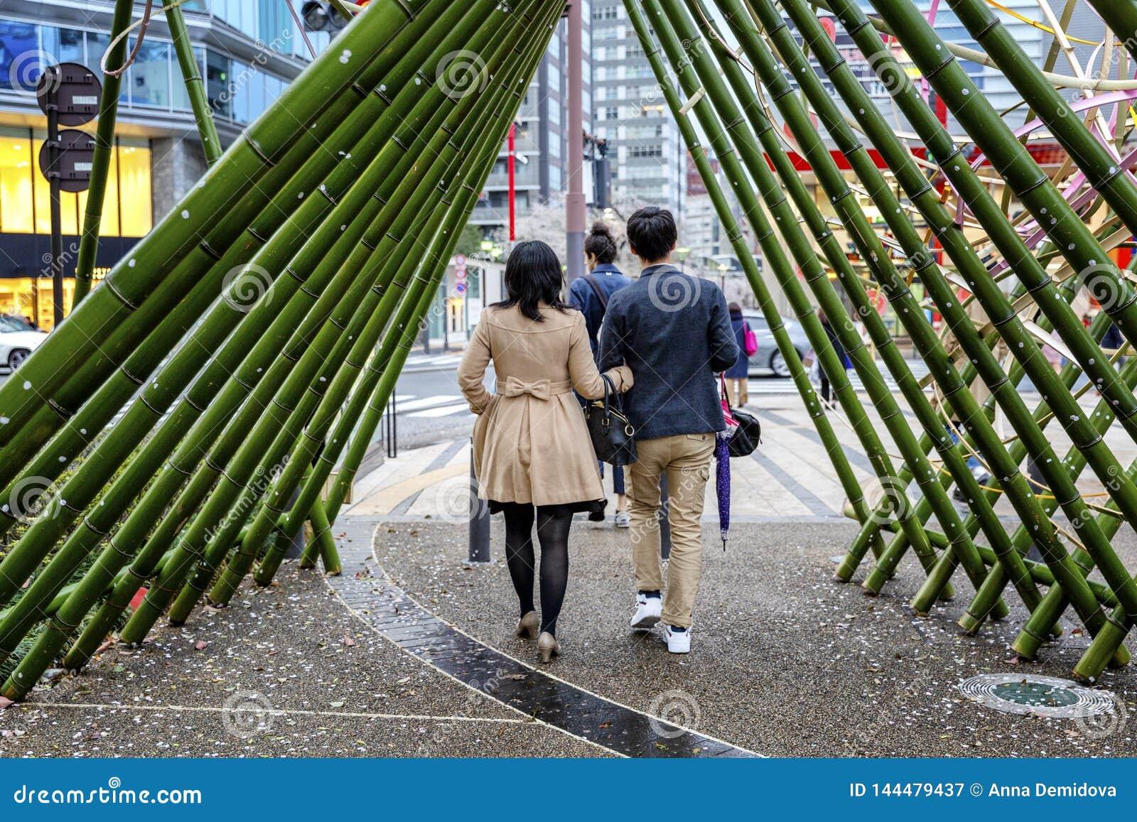 Tokyo, Giappone, 04/08/2017 Via meravigliosamente decorata a Tokyo, gente di camminata