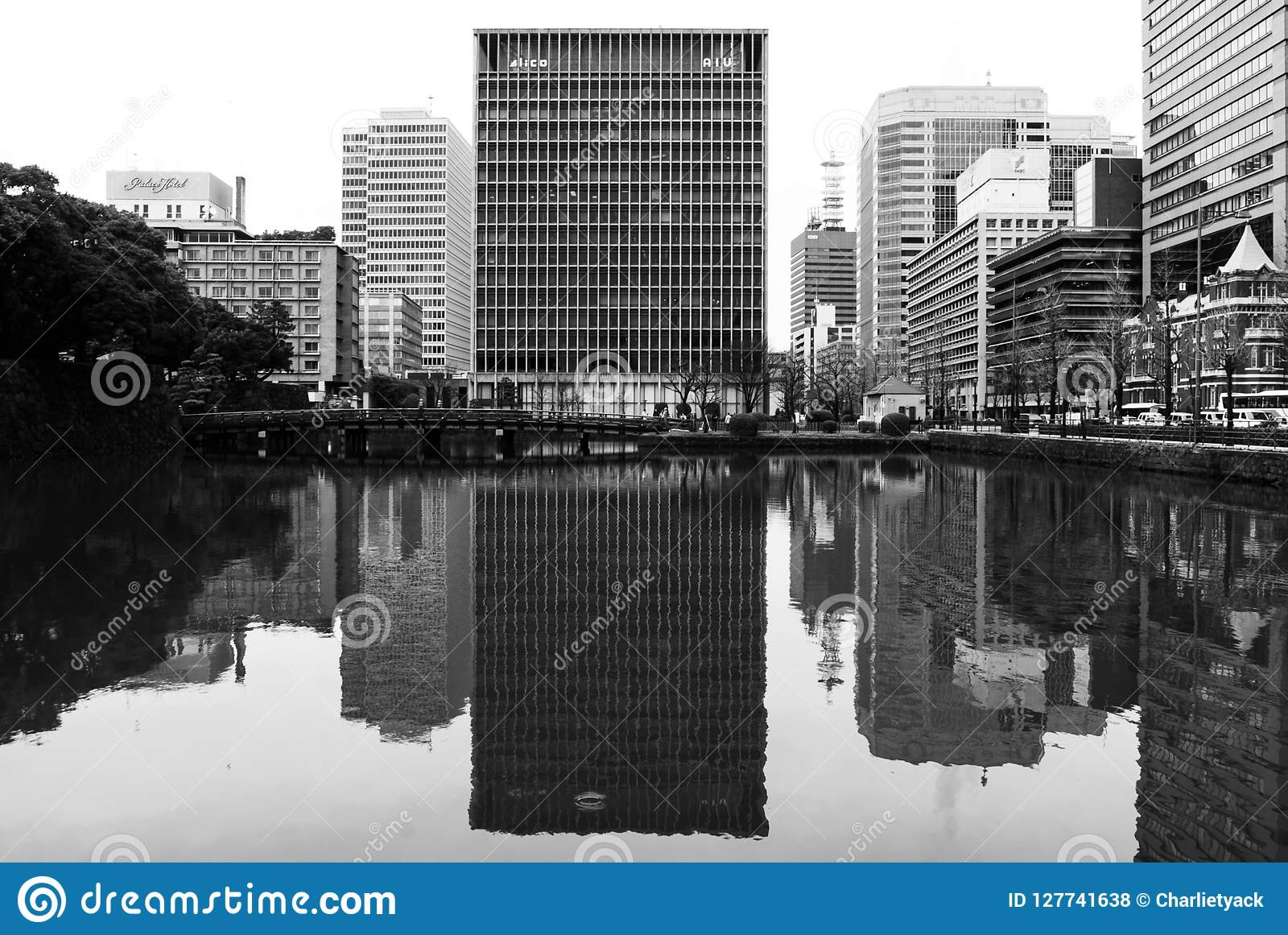 Tokyo high-rise office block - black and white.
