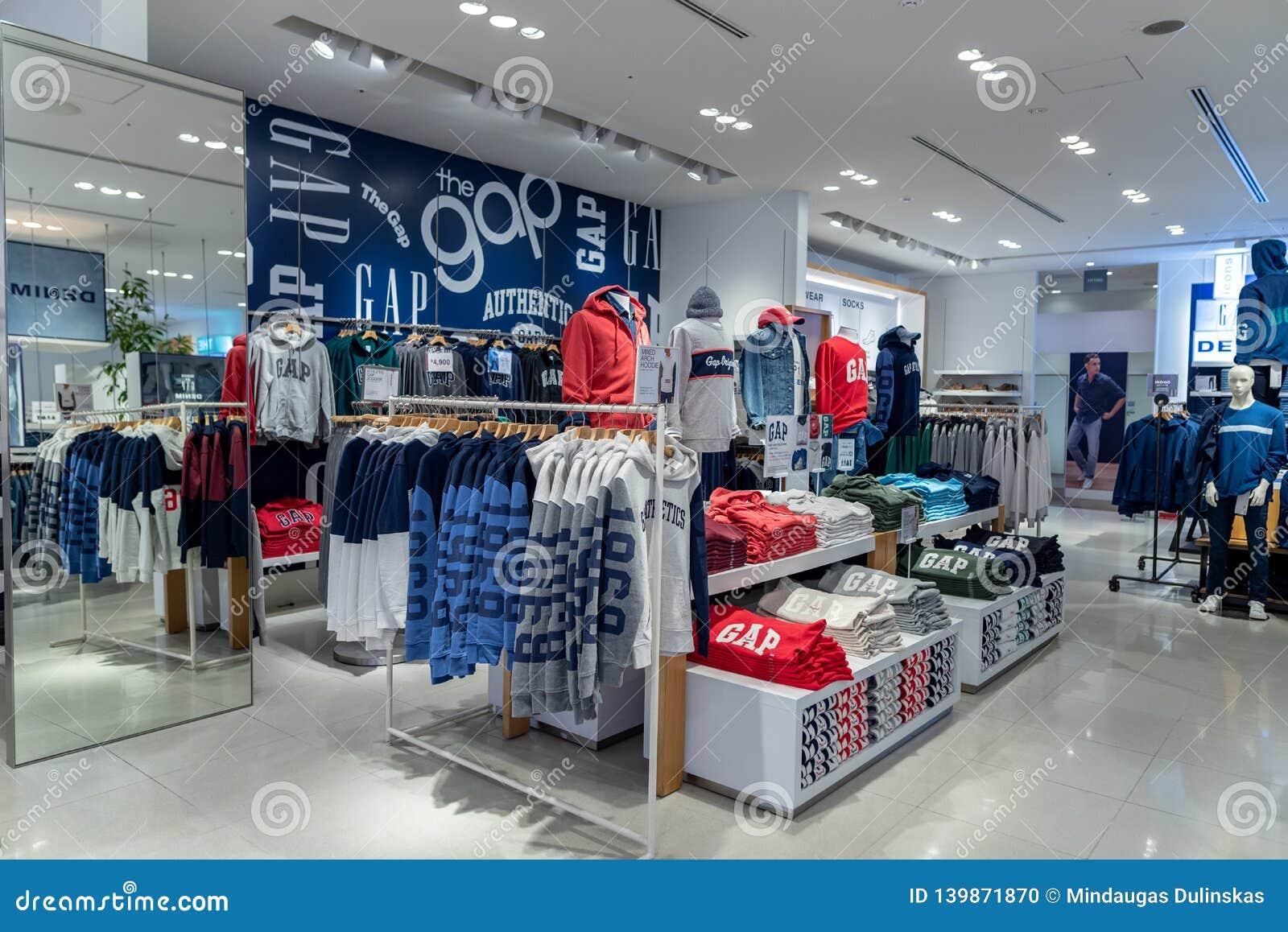 TOKYO, JAPAN - FEBRUARY 5, 2019: Tokyo Ginza Area GAP shop interior