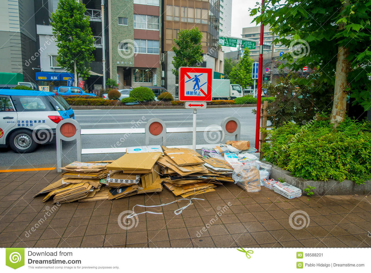 TOKYO, JAPAN JUNE 28 - 2017: Recycling Area With Paperboards