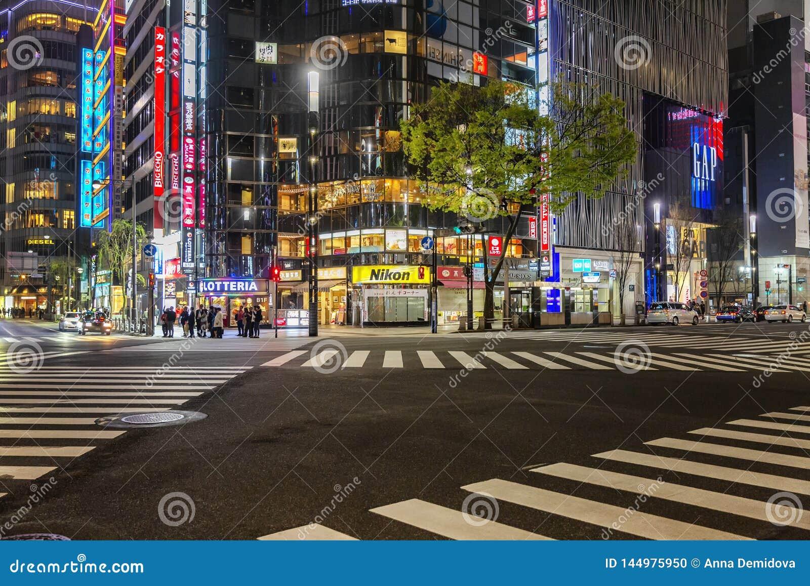 Tokyo, Japan, 04/08/2017: Nachtstraat van de metropool