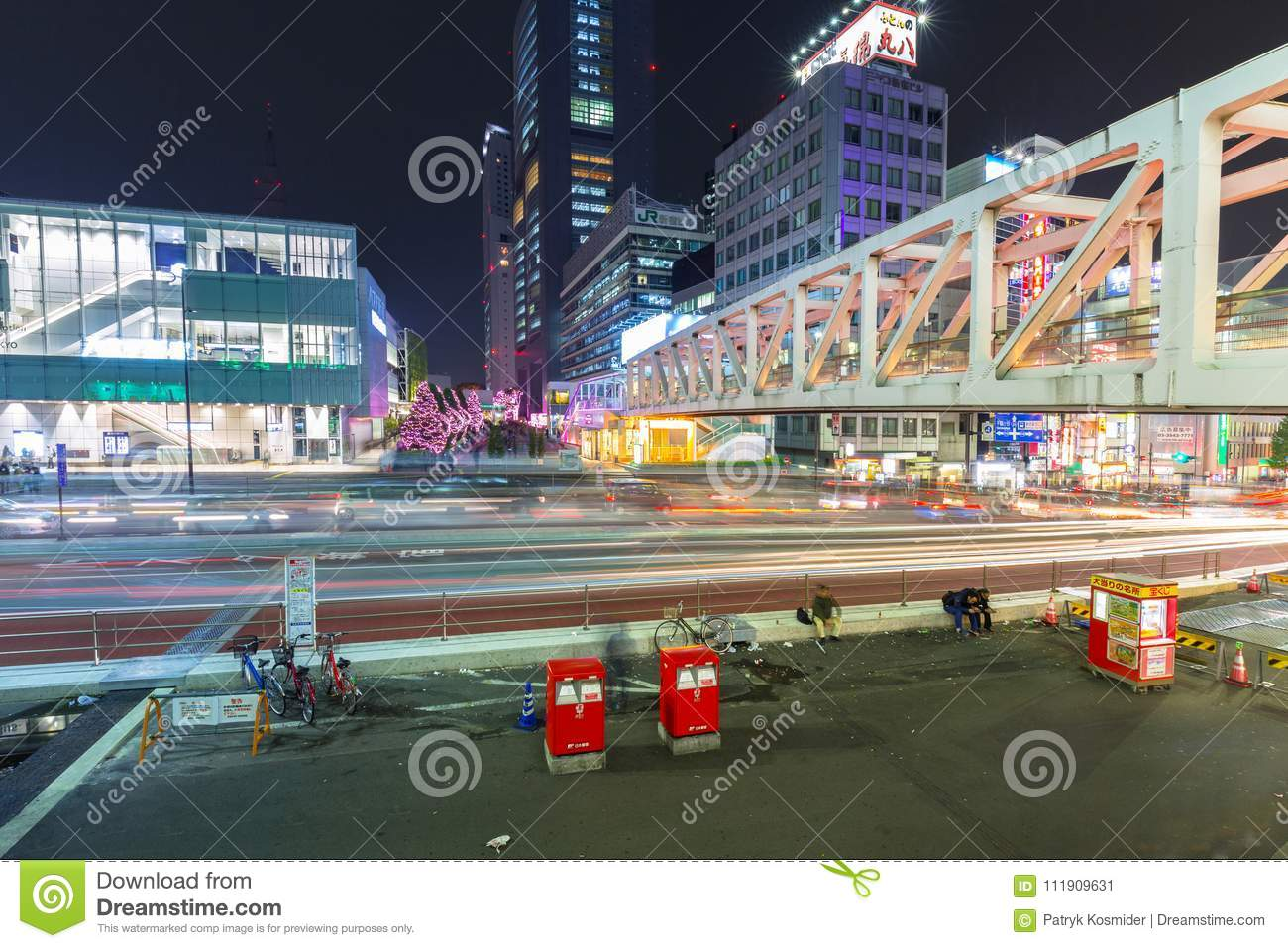 Cityscape Of Shinjuku District With Traffic Lights On The