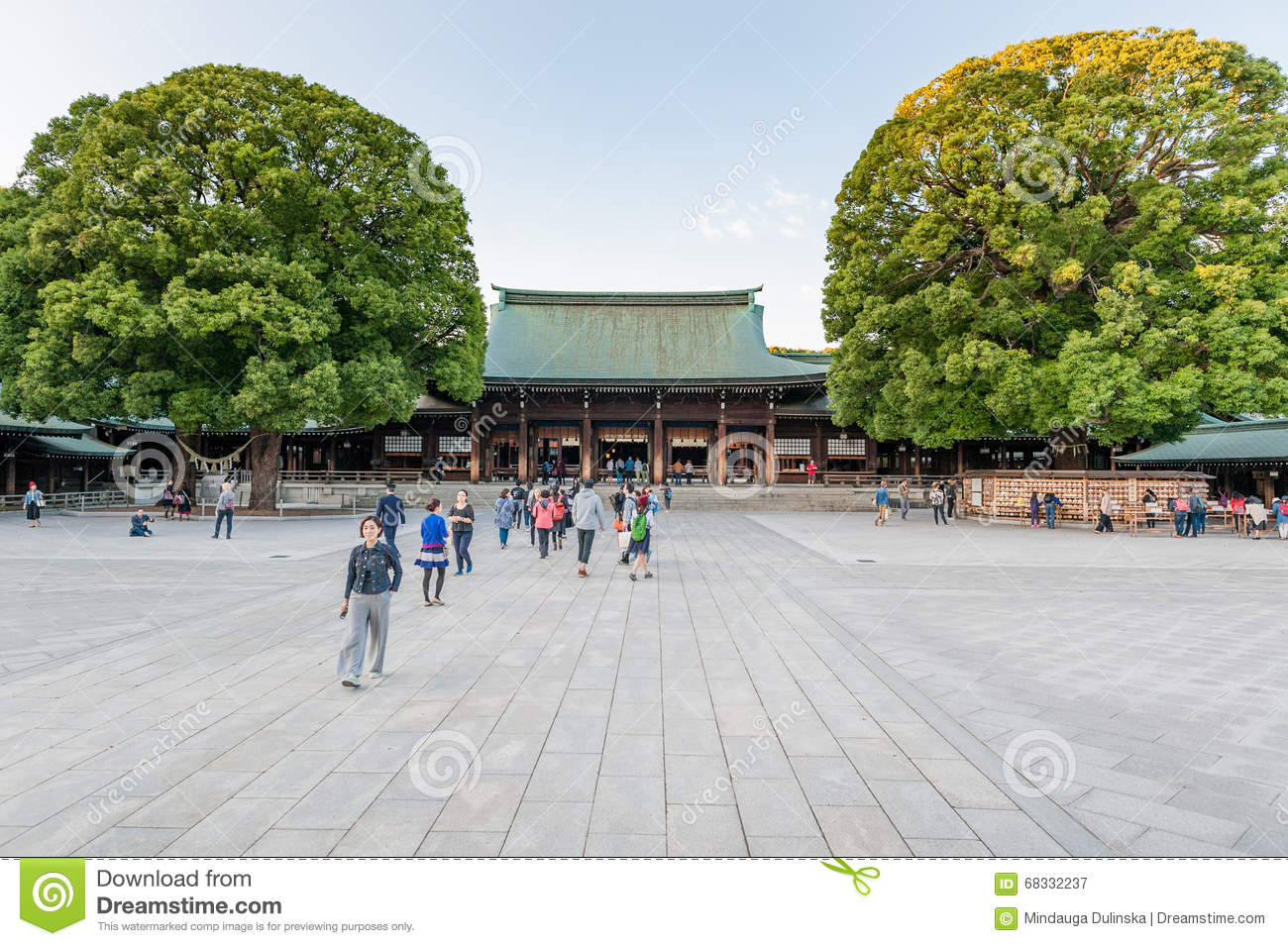 TOKYO, JAPAN - OCTOBER 07, 2015: Entrance to Imperial Meiji Shrine located in Shibuya, Tokyo shrine that is dedicated to the deifi