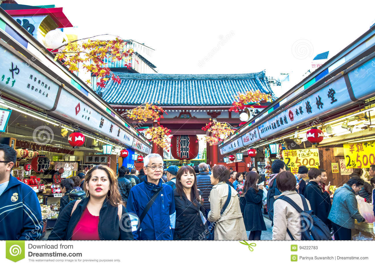 TOKYO, JAPAN: Tourists are spending their time in Nakamise-Dori, a shopping street at Senso-ji temple area located