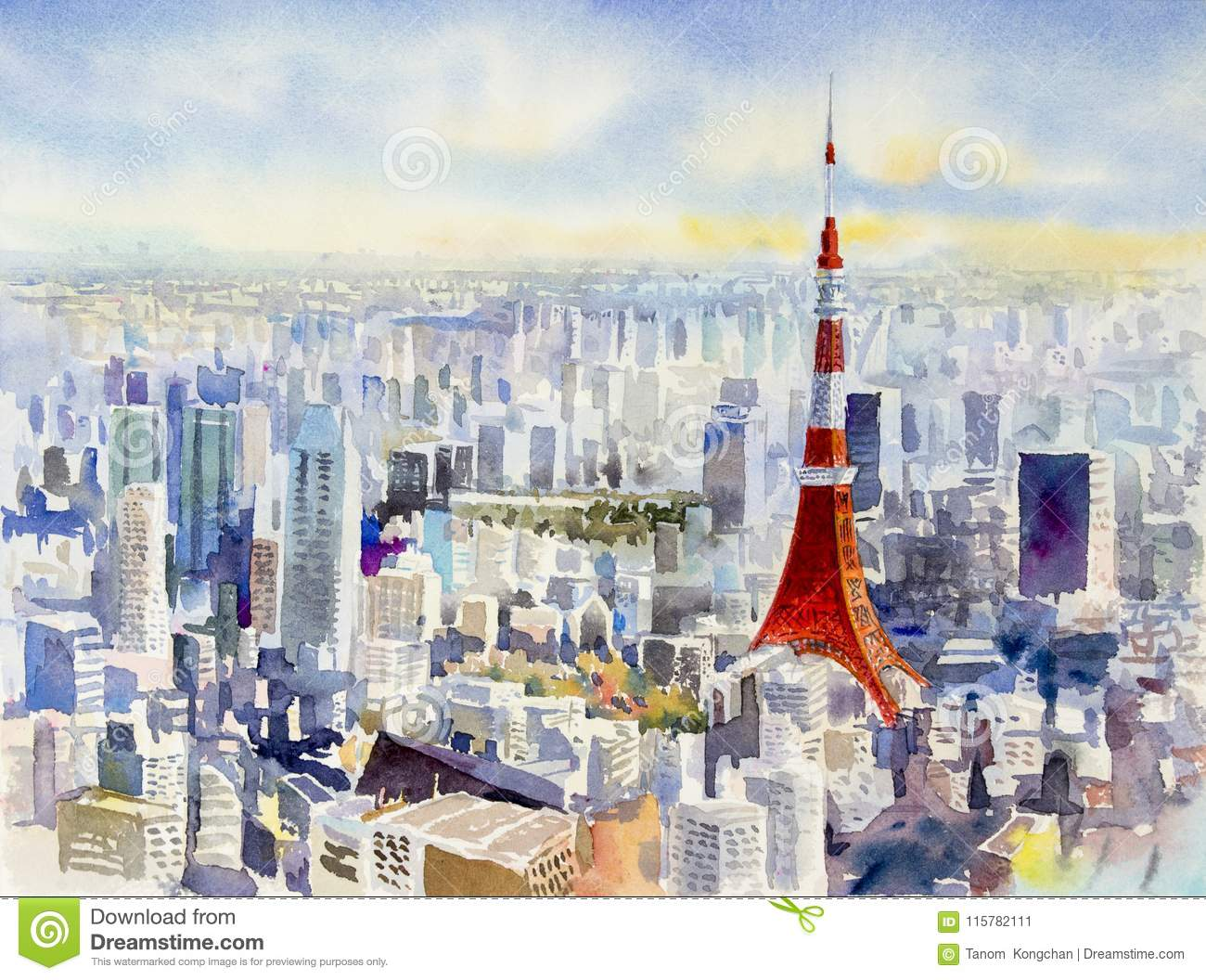Tokyo Tower Famous Landmark Of Japan Watercolor Painting Stock Illustration Illustration Of Growth Cityscape 115782111