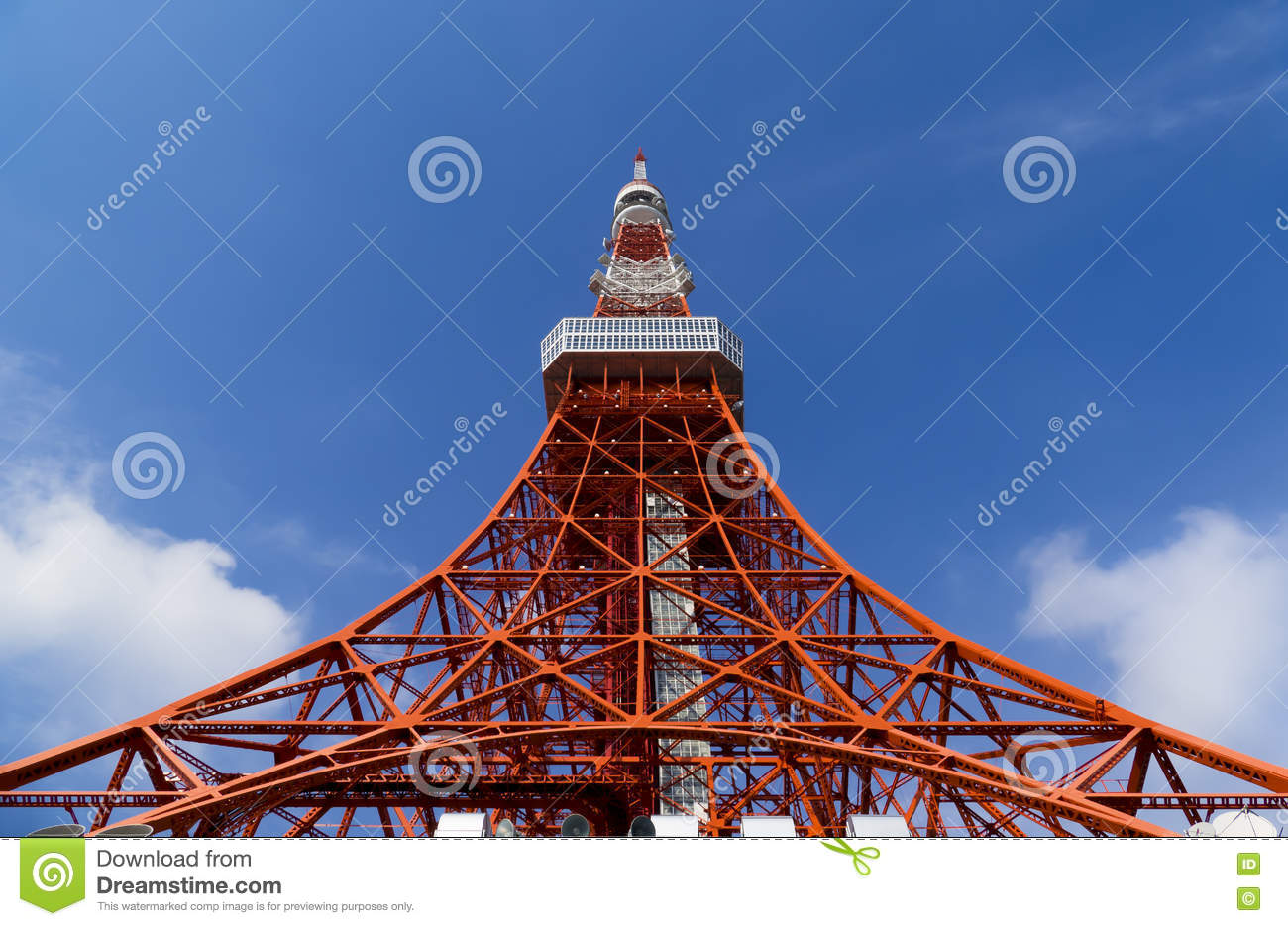 Tokyo tower, The landmark of Japan in blue sky